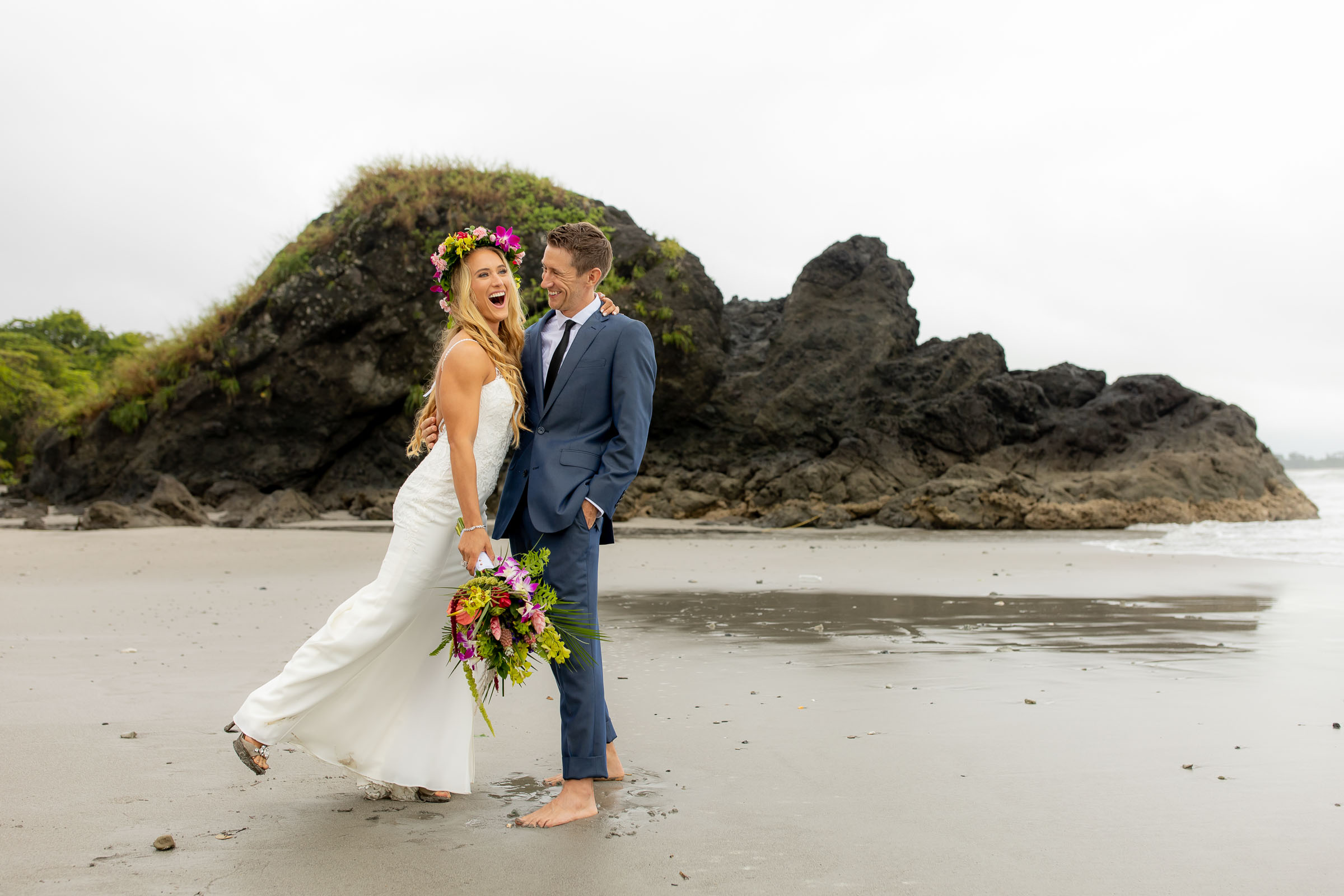 Costa Rica wedding photo of couple on beach by Kevin Heslin Photography