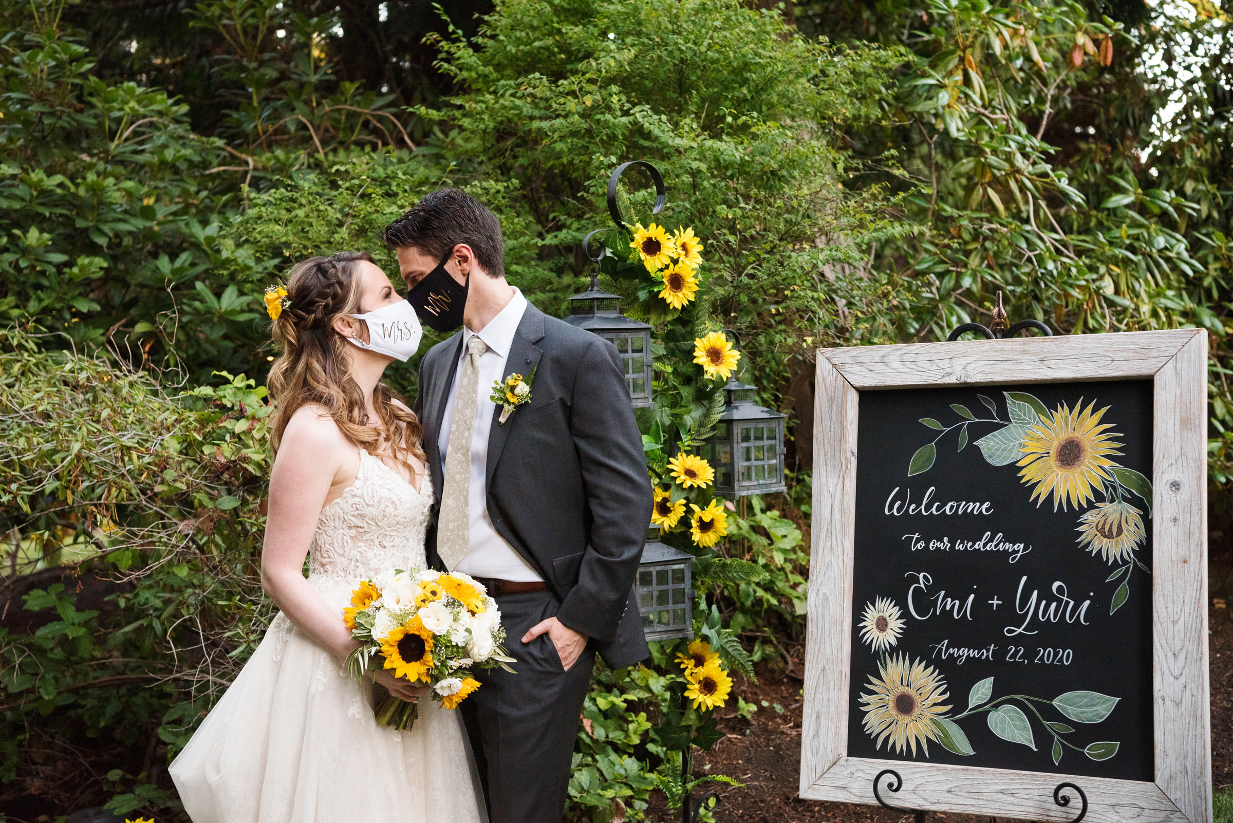 sunflower-wedding-couple-portrait-with-masks-barbie-hull-photography