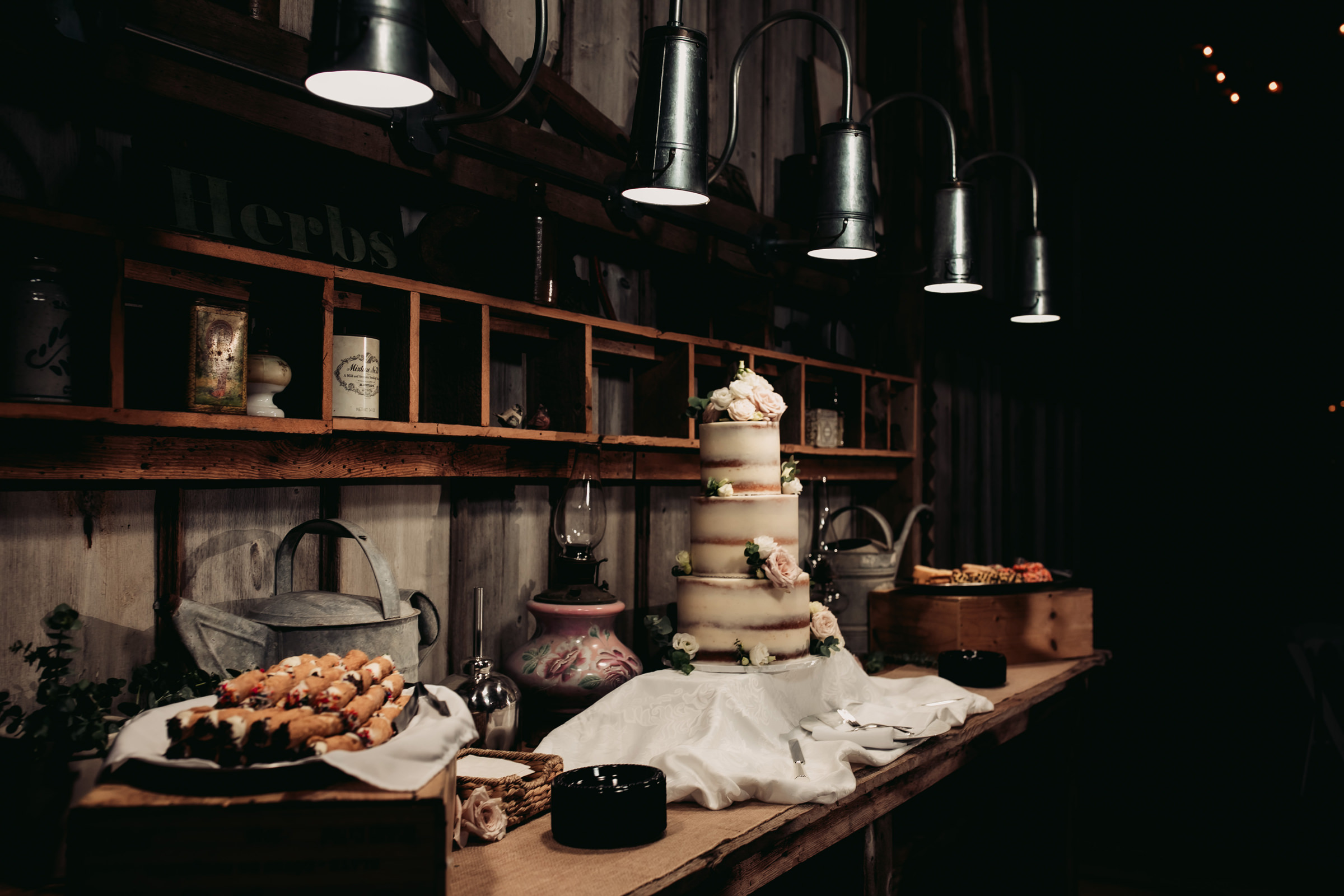 tiered-cake-and-platter-of-canolis-in-rustic-kitchen-setting-mike-zawadzki-photography