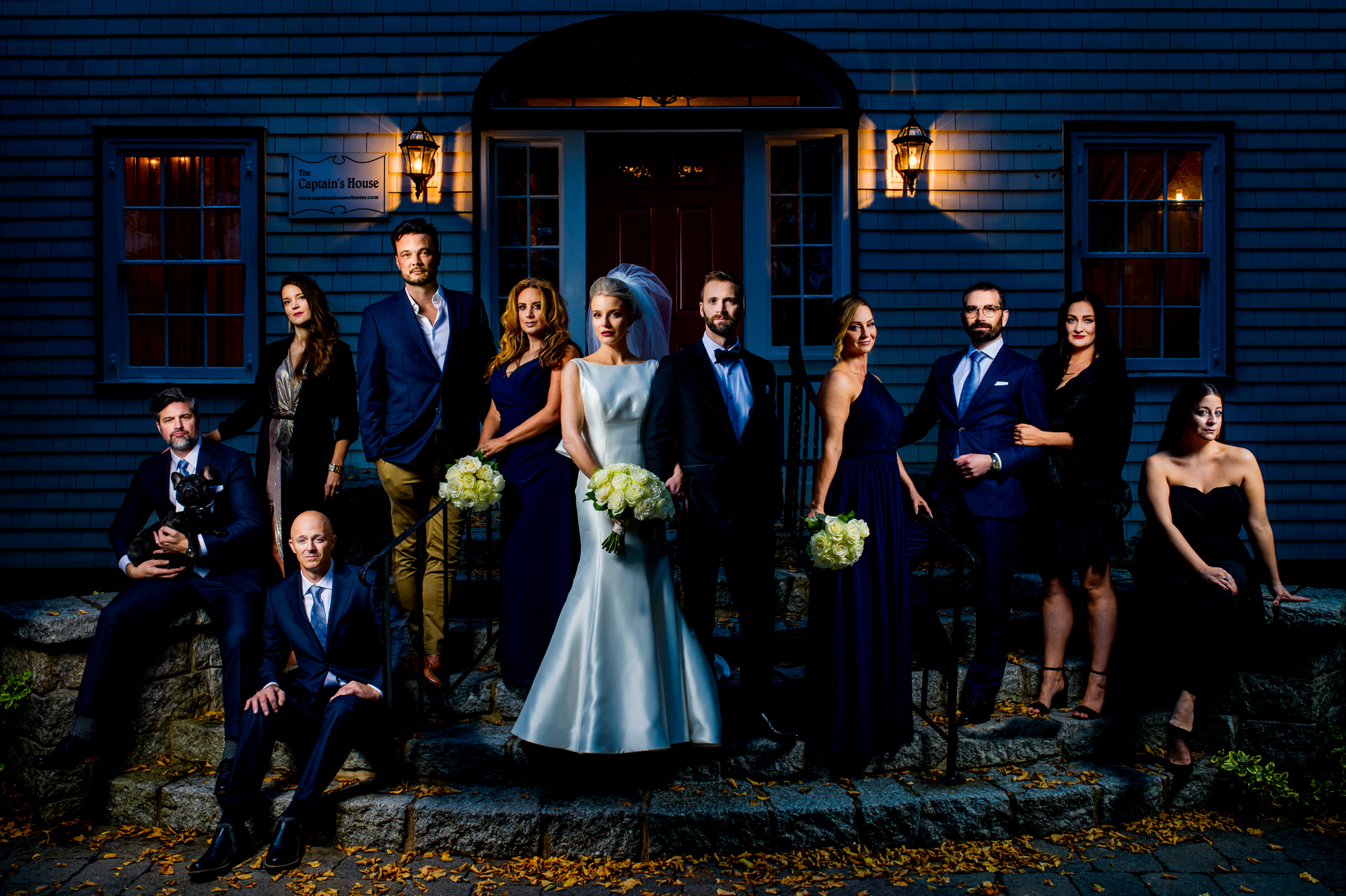 Bridal party in a suite of little black dresses - photographed by Jeff Cooke - Nova Scotia