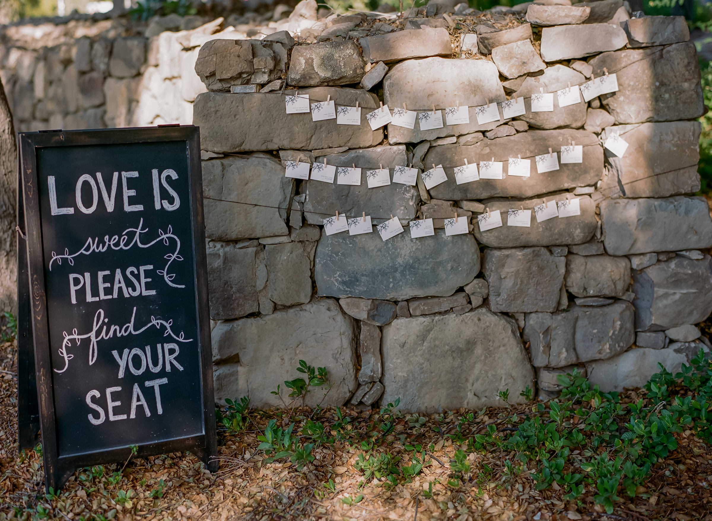seating-name-cards-hanging-on-rustic-stone-wall-with-chalkboard-sign-amyandstuart-photography