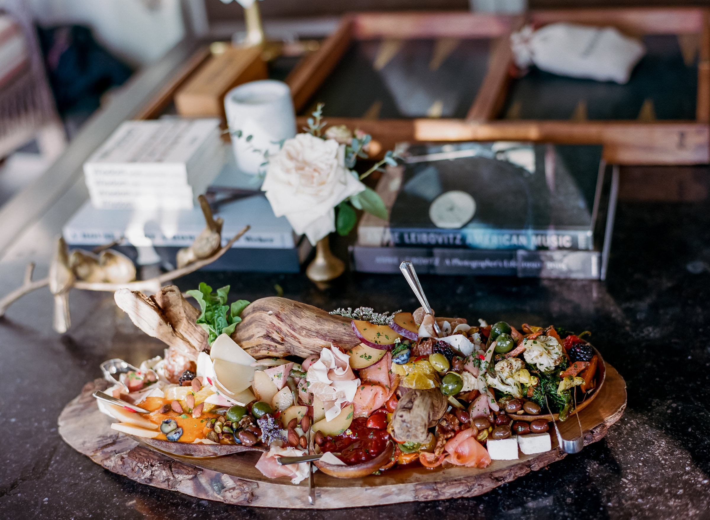 reception-antipasto-platter-against-books-and-backgammon-table-amyandstuart-photography