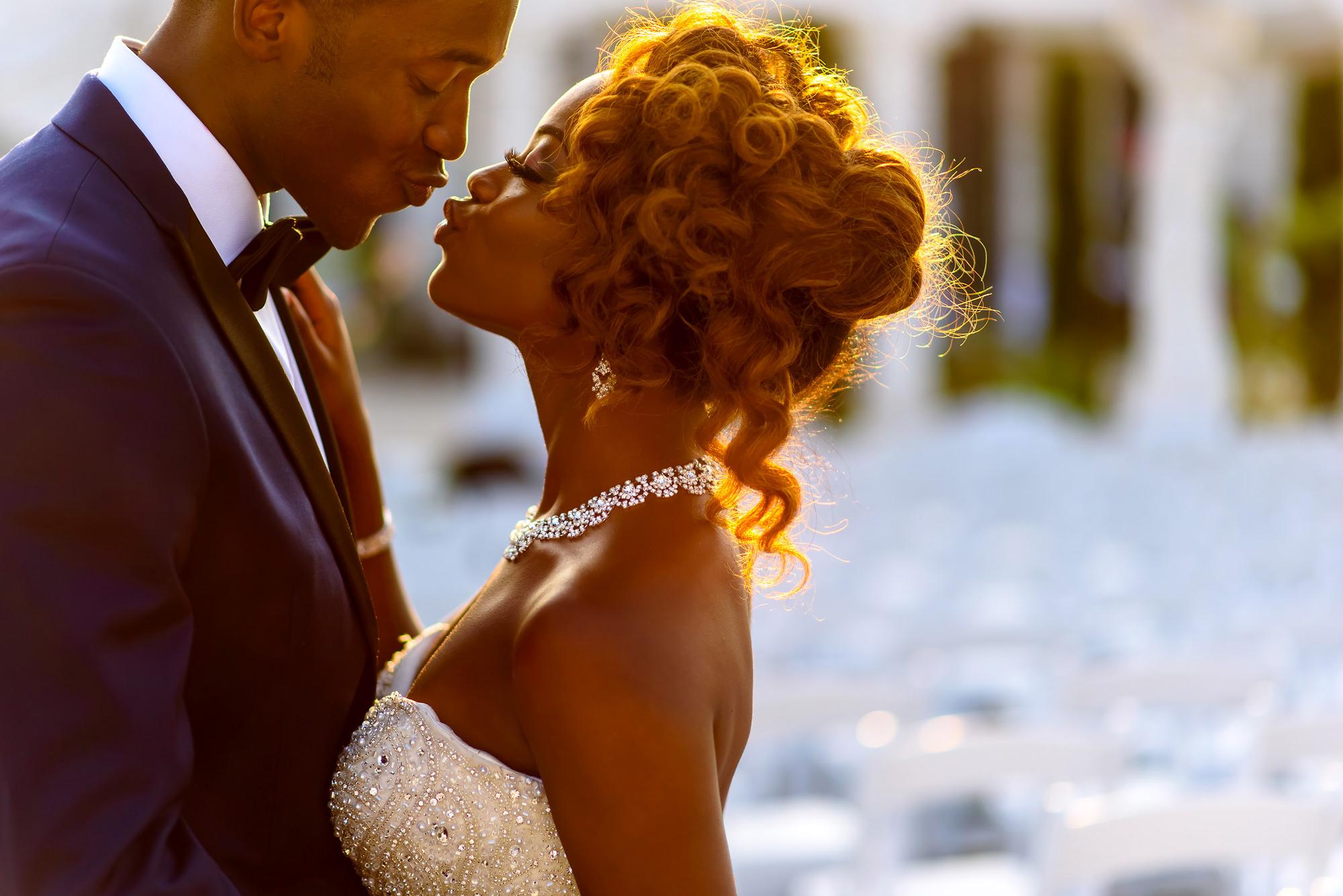 groom-bride-with-red-hair-beaded-dress-and-large-diamond-necklace-pucker-up-worlds-best-wedding-photos-jide-alakija-new-york-wedding-photographers