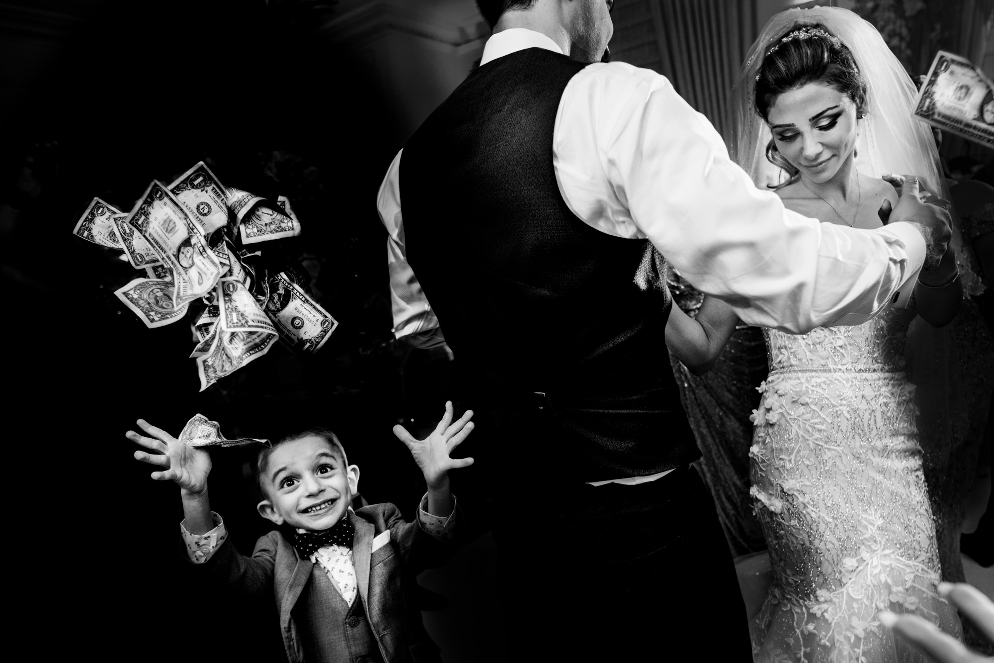 Kid throws money up during money dance at wedding by Matei Horvath of Los Angeles