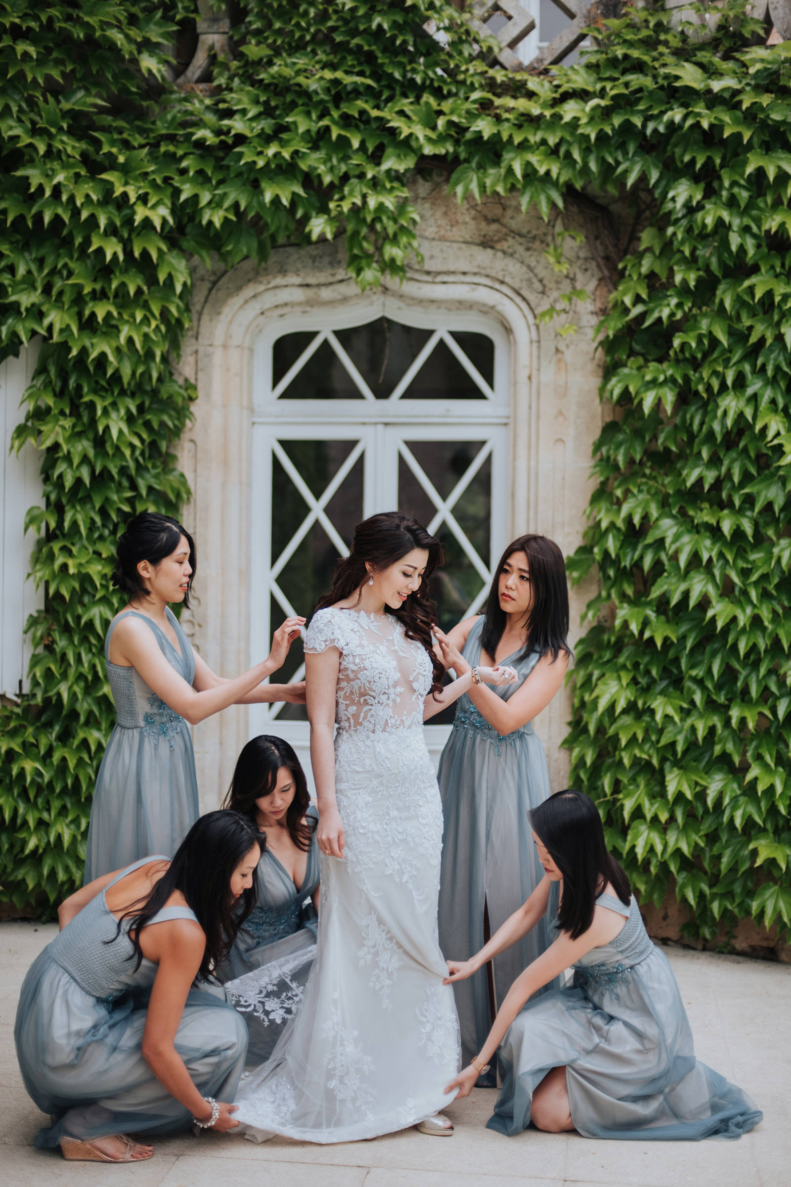 Dusty blue chiffon wedding gowns for bridesmaids - MunKeat Studios - Malaysia