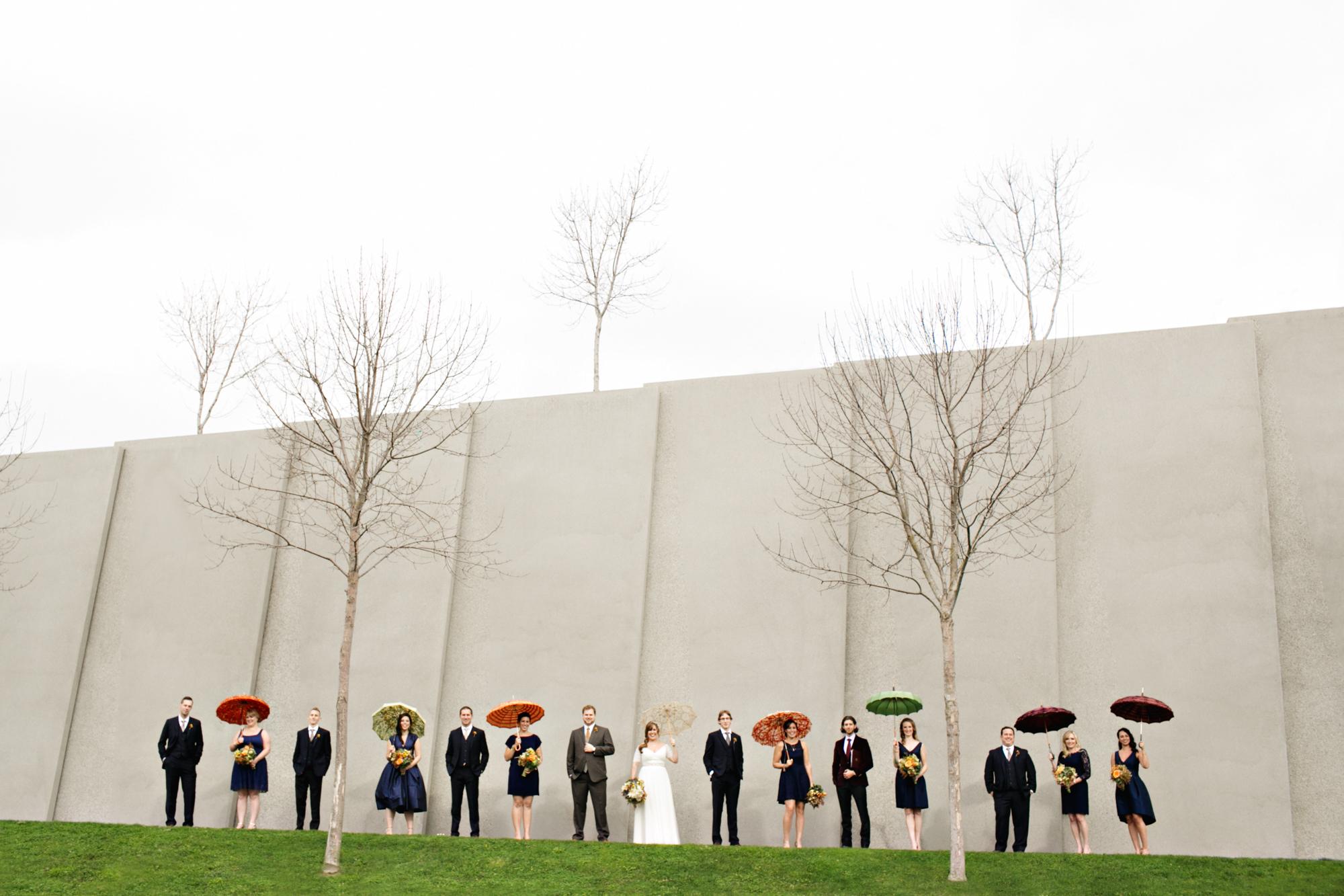 fun-bridal-party-group-portrait-Seattle-olympic-sculpture-garden-jenny-jimenez-seattle-wedding-photographers