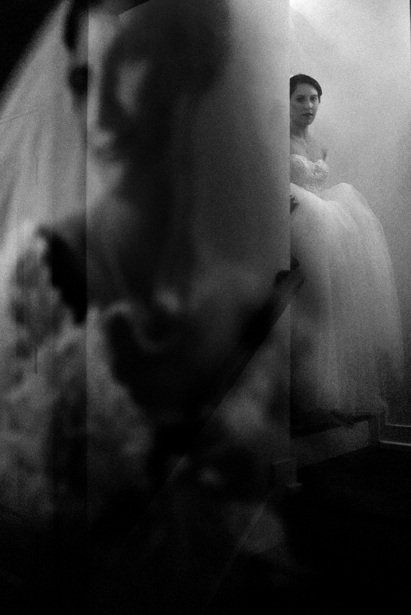 Ethereal portrait of bride with mother's image by Tyler Wirken