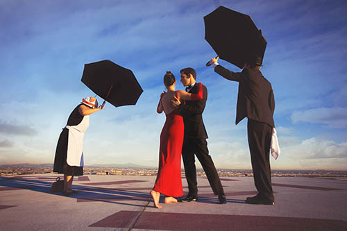 Creative engagement portrait by Callaway Gable Photography