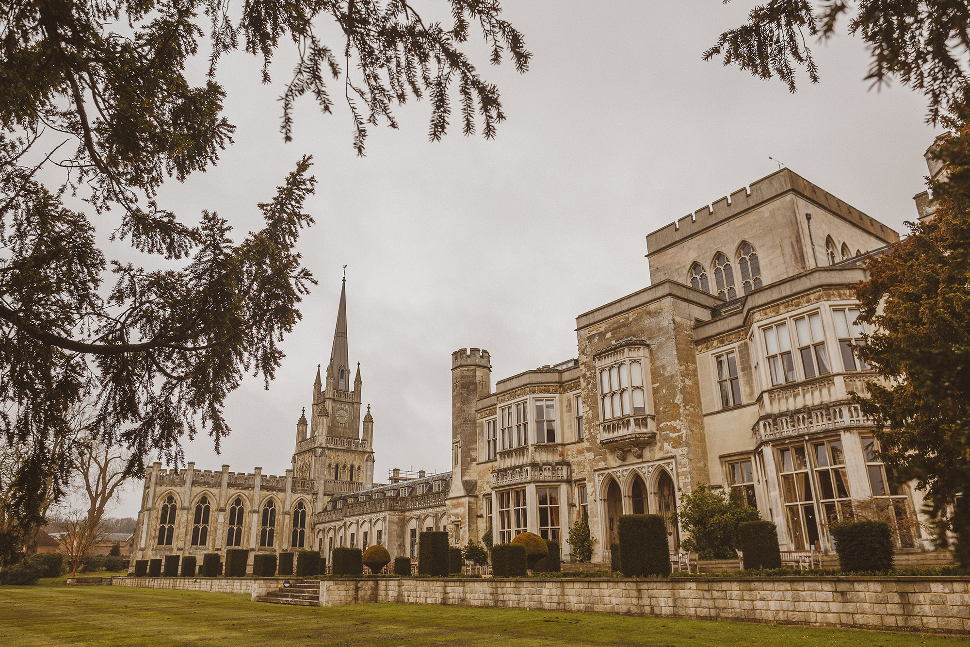Entrance to Ashridge House - One of England's best wedding manors - photo by Ed Peers Photography