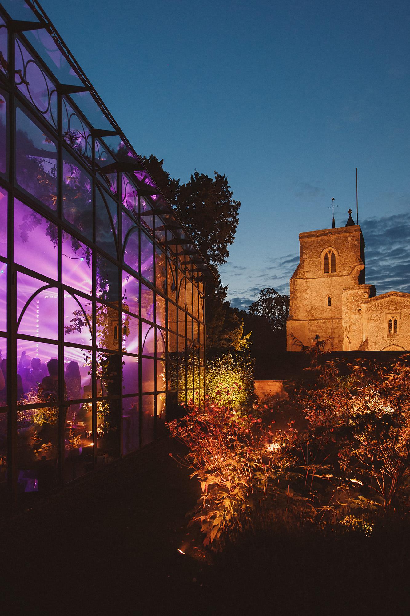 Belmond Le Manoir aux Quat Saisons lighted reception site - Oxfordshire, England - photo by Ed Peers