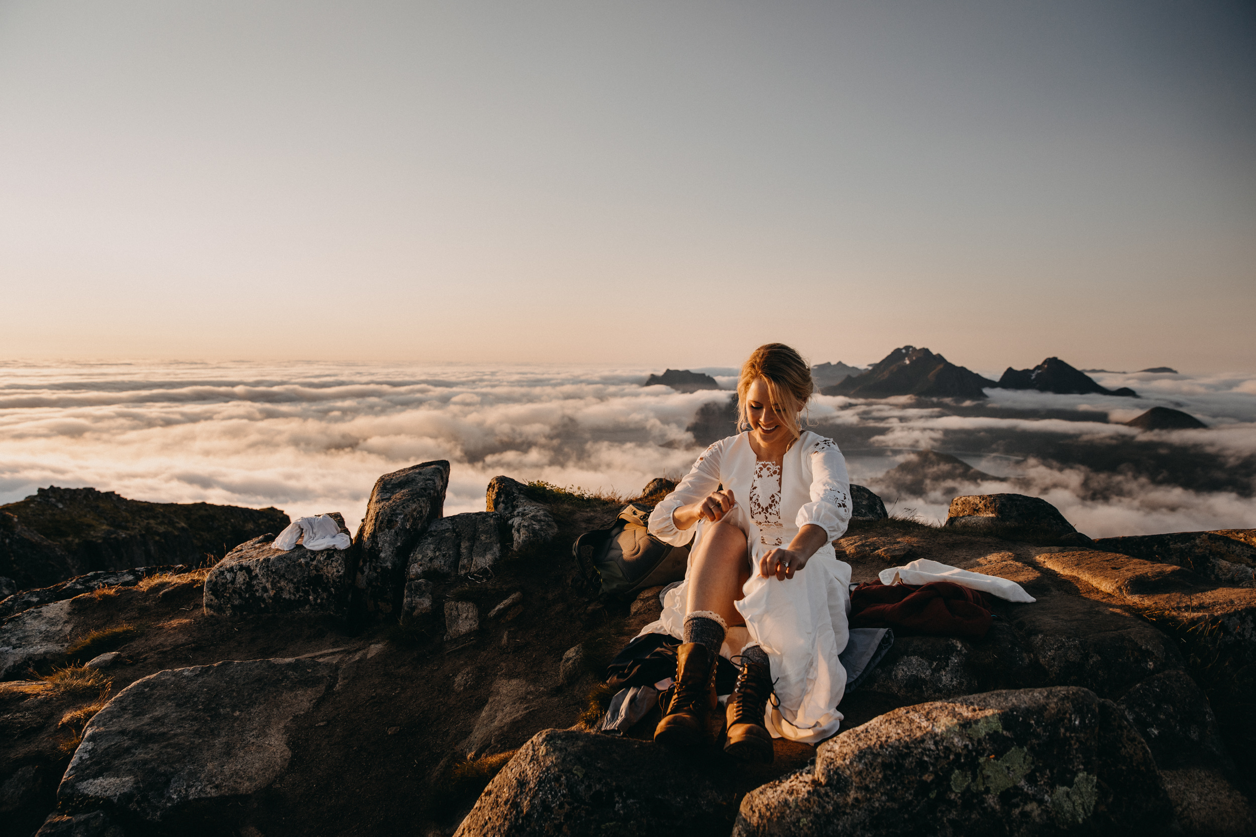 Bride at sunset on Aurland mountain top - photo by Christin Eide