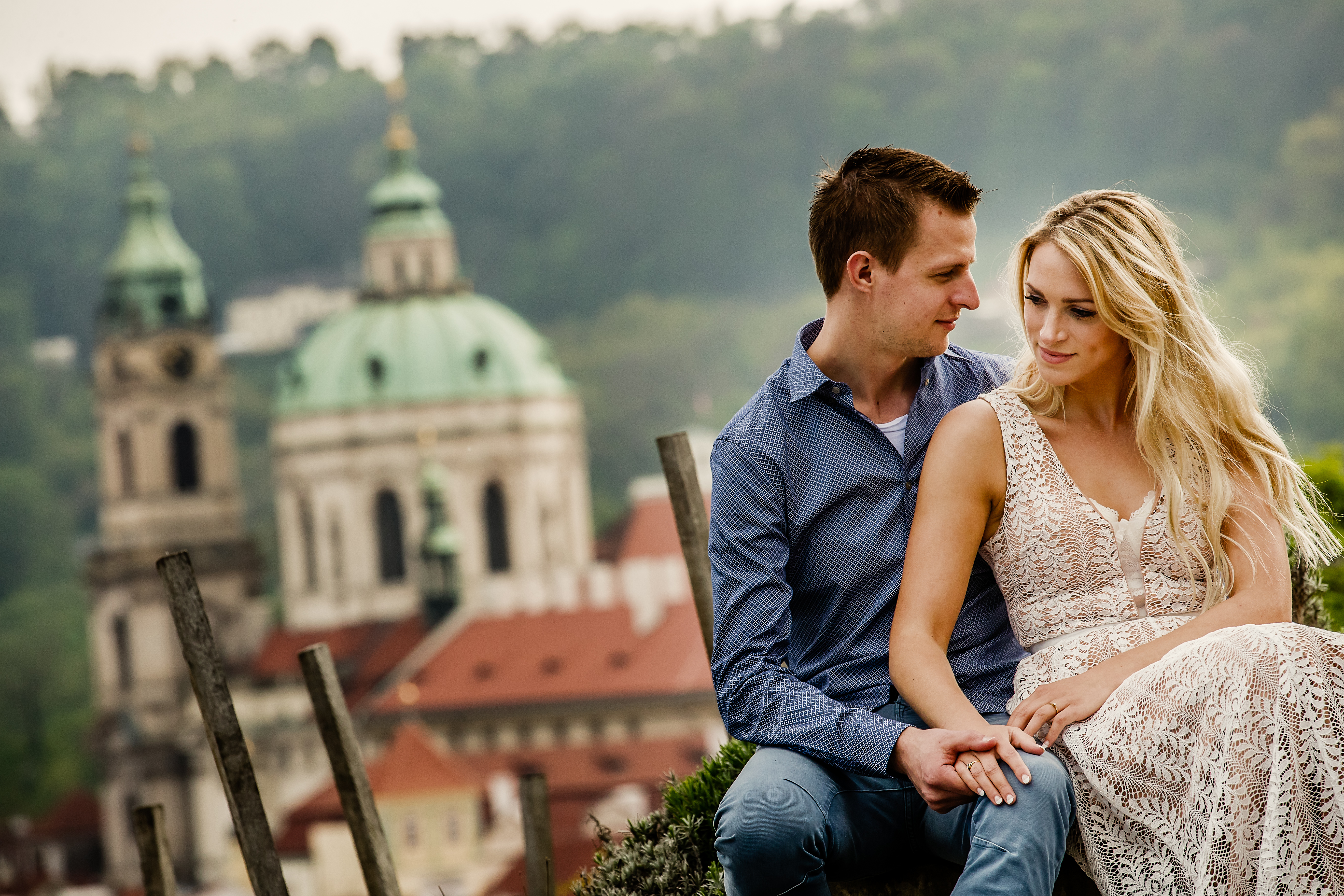 Elopement photo from the gardens at Prague Castle - photographed by Eppel Photography