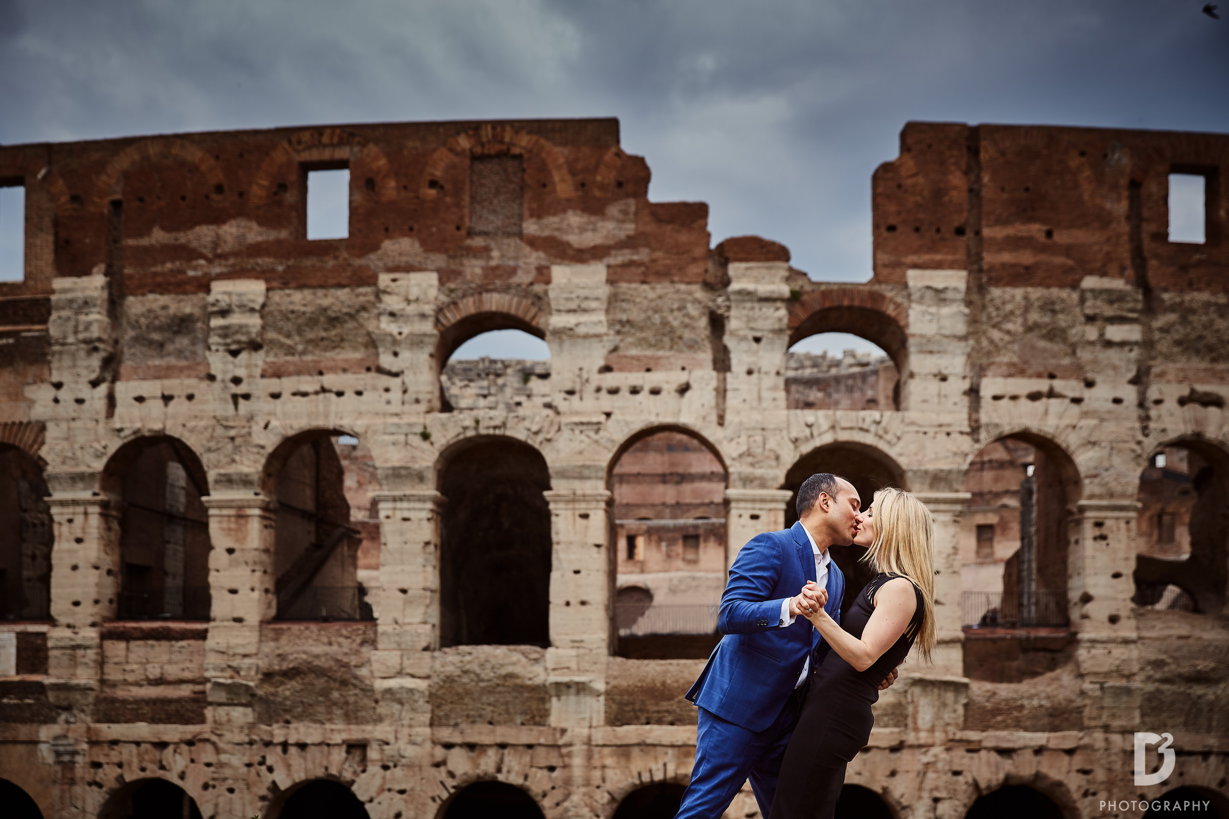 Elopement photo outside of the Coliseum - photo by D2 Photography