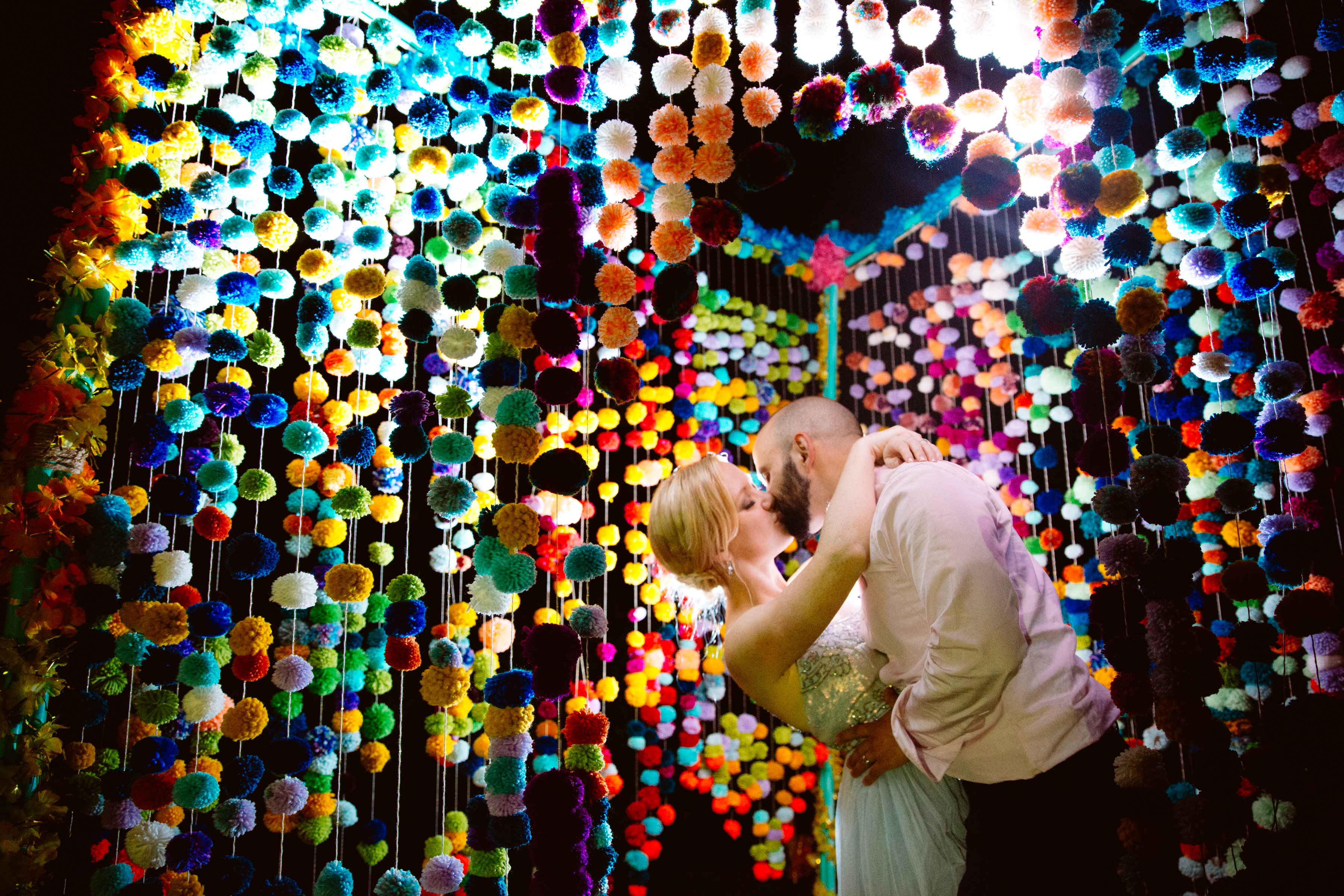 Colorful dance floor portrait of couple taken by Jessica Hill Portland photographer