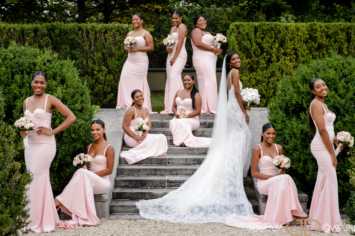 Bridal party in pink sweetheart neckline crepe gowns - photographed by Josuha Dwain - Washington D.C.