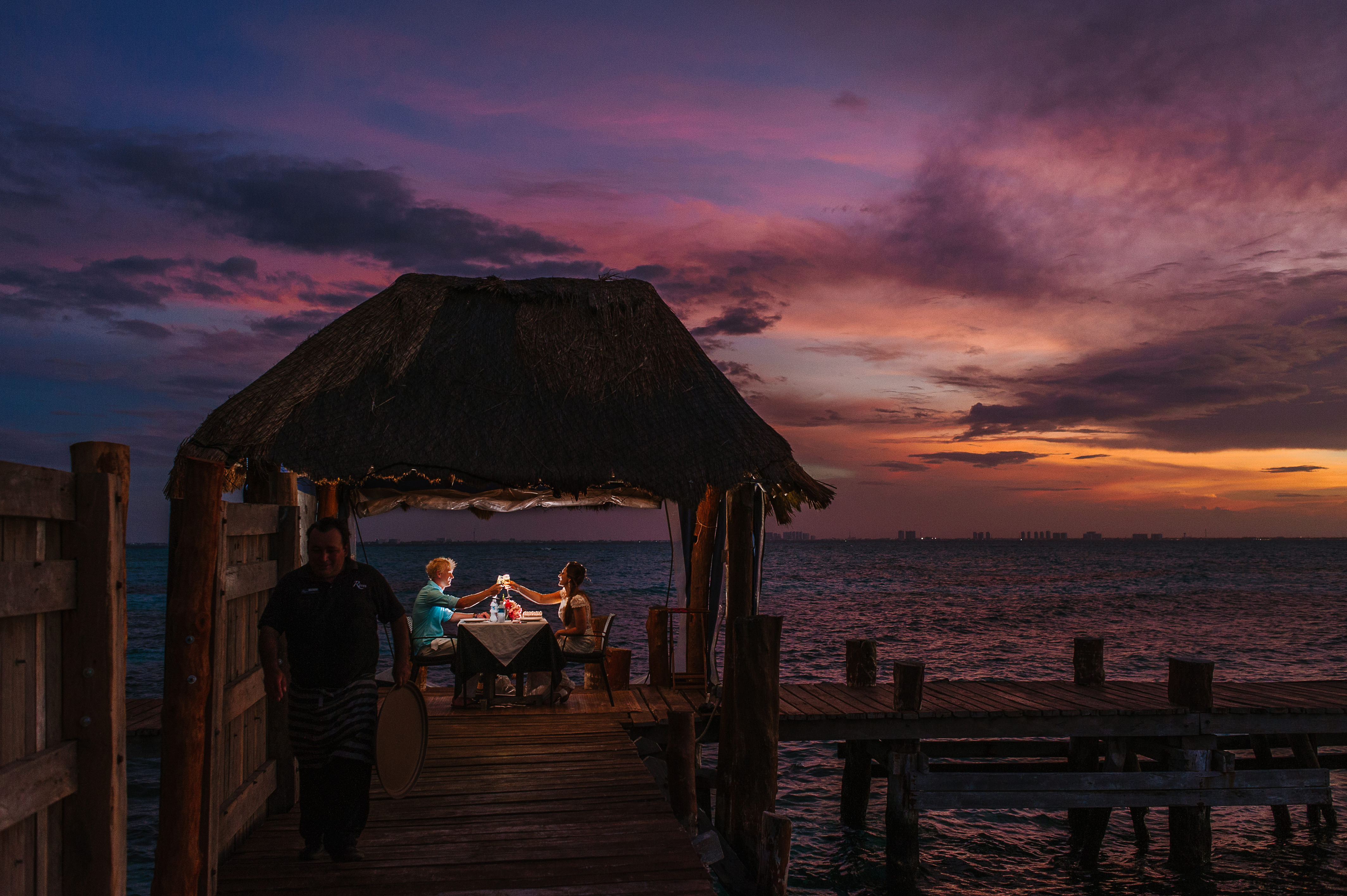 Over the water dining for two in Isla Mujeres, Mexico - Photo by Citlalli Rico