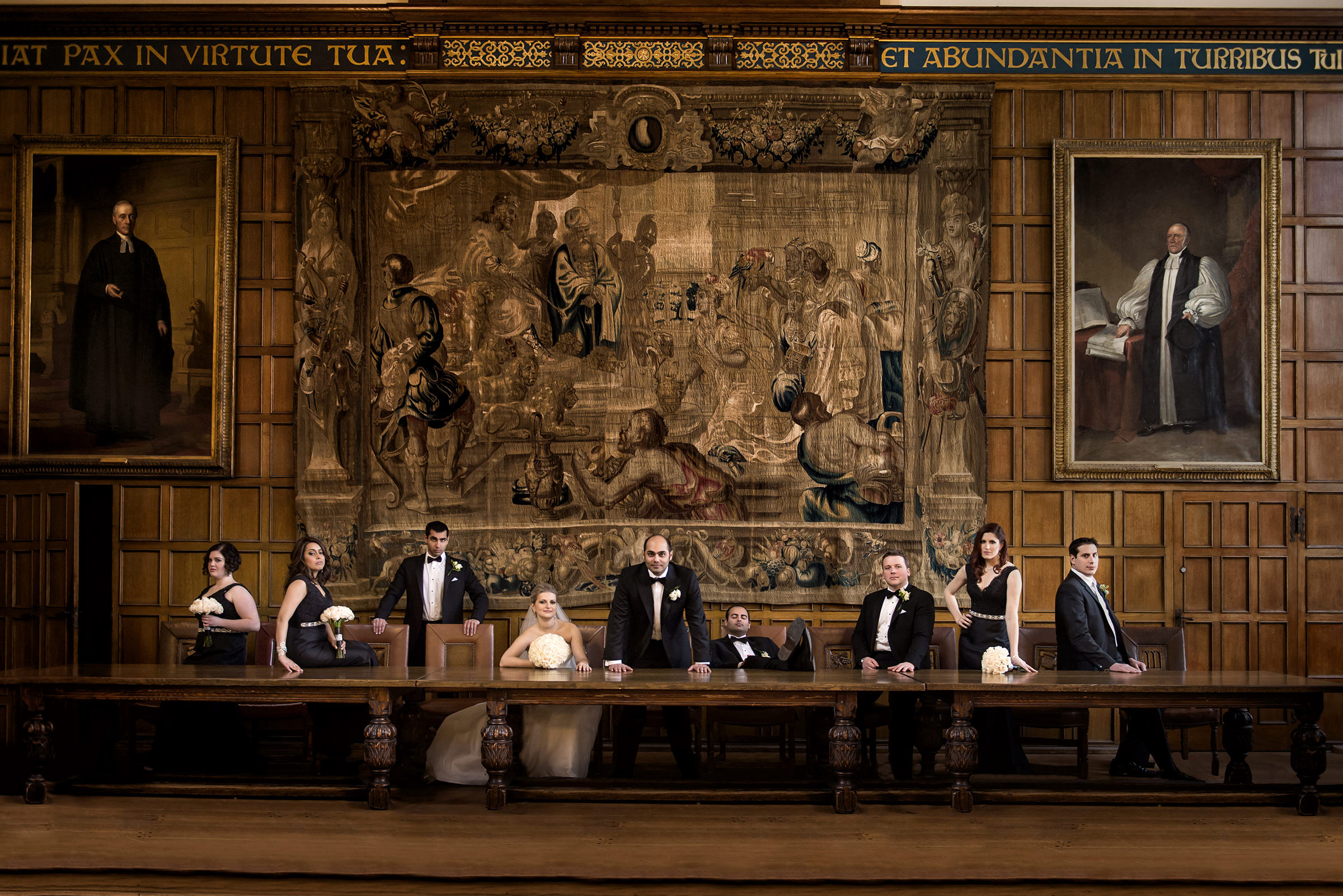 University of Toronto dining hall bridal party portrait by David and Sherry Photography