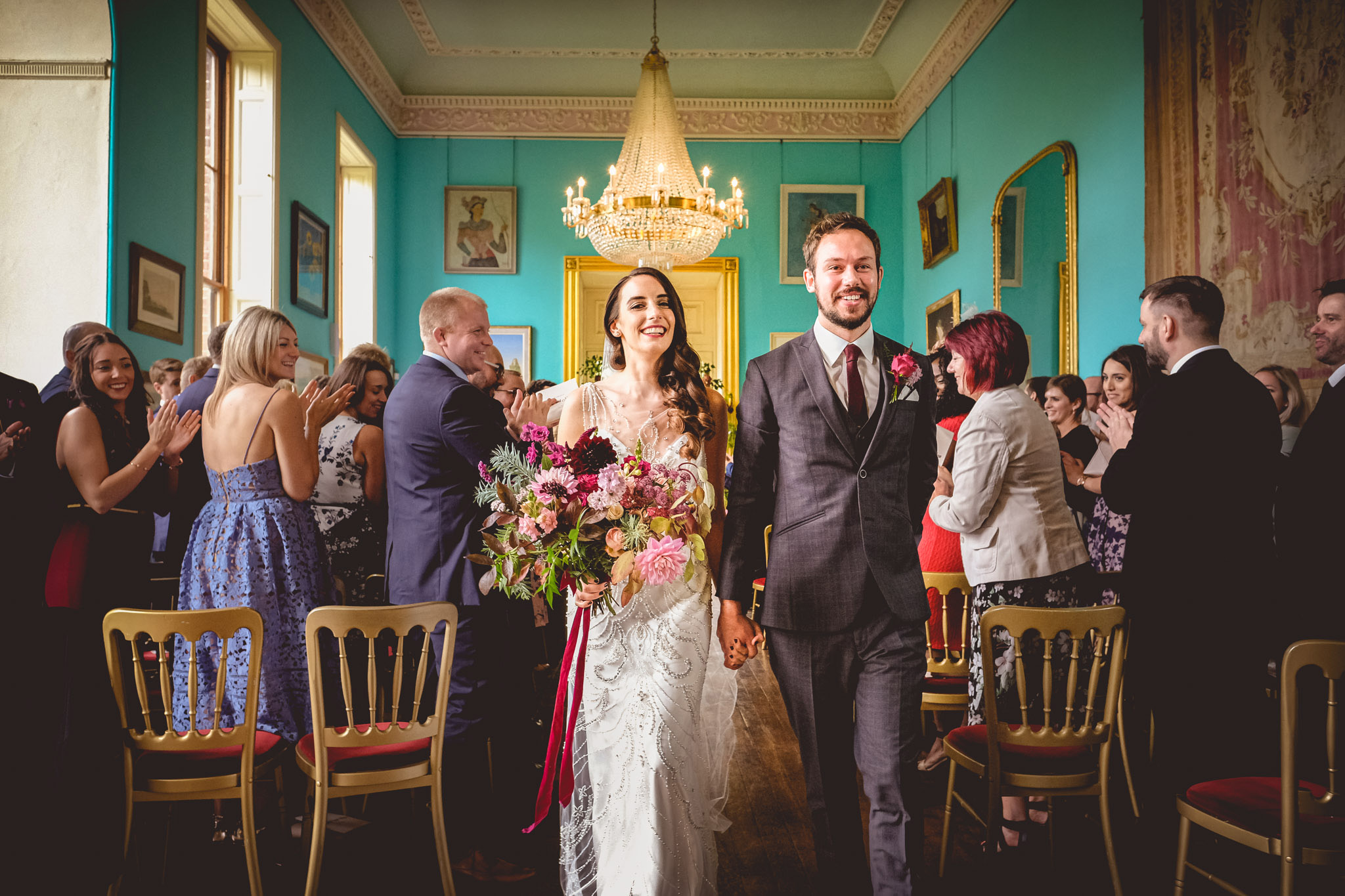 Walcot Hall, Shopshire, England, turquoise wedding and reception site - photo by Andrew Billington
