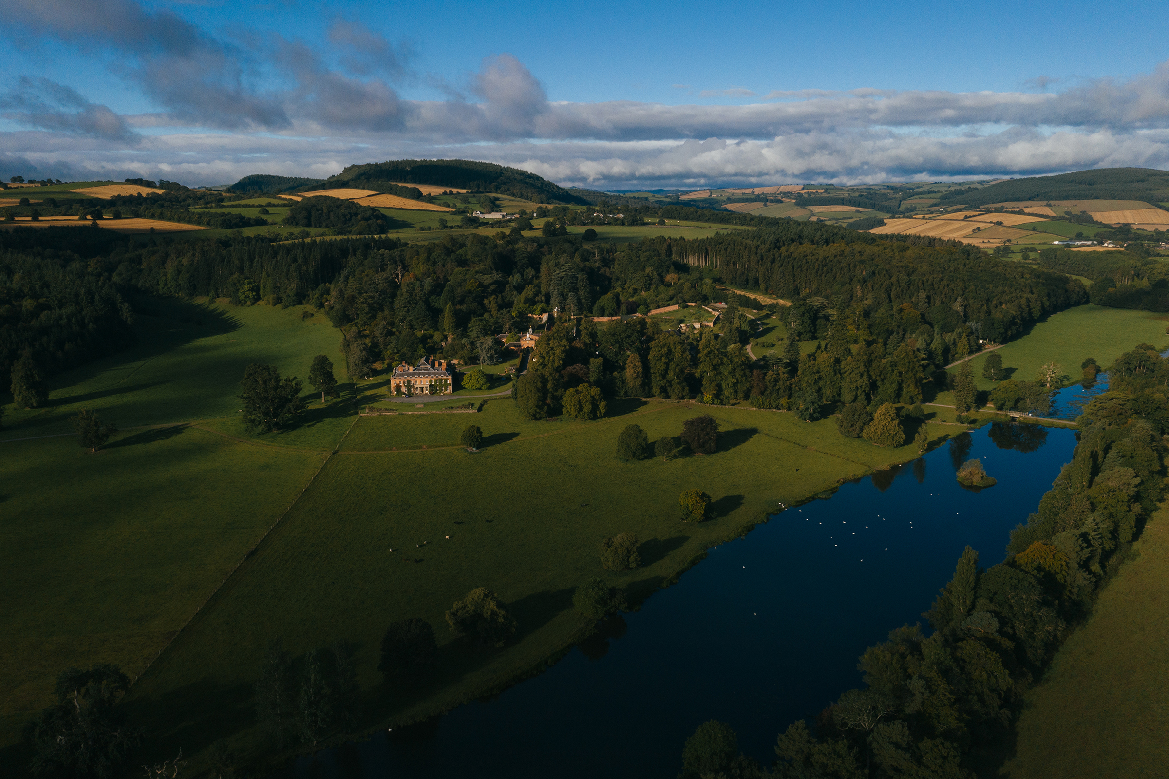 Walcot Hall, Shropshire, England, drone photo of manor and grounds - photo by Andrew Billington