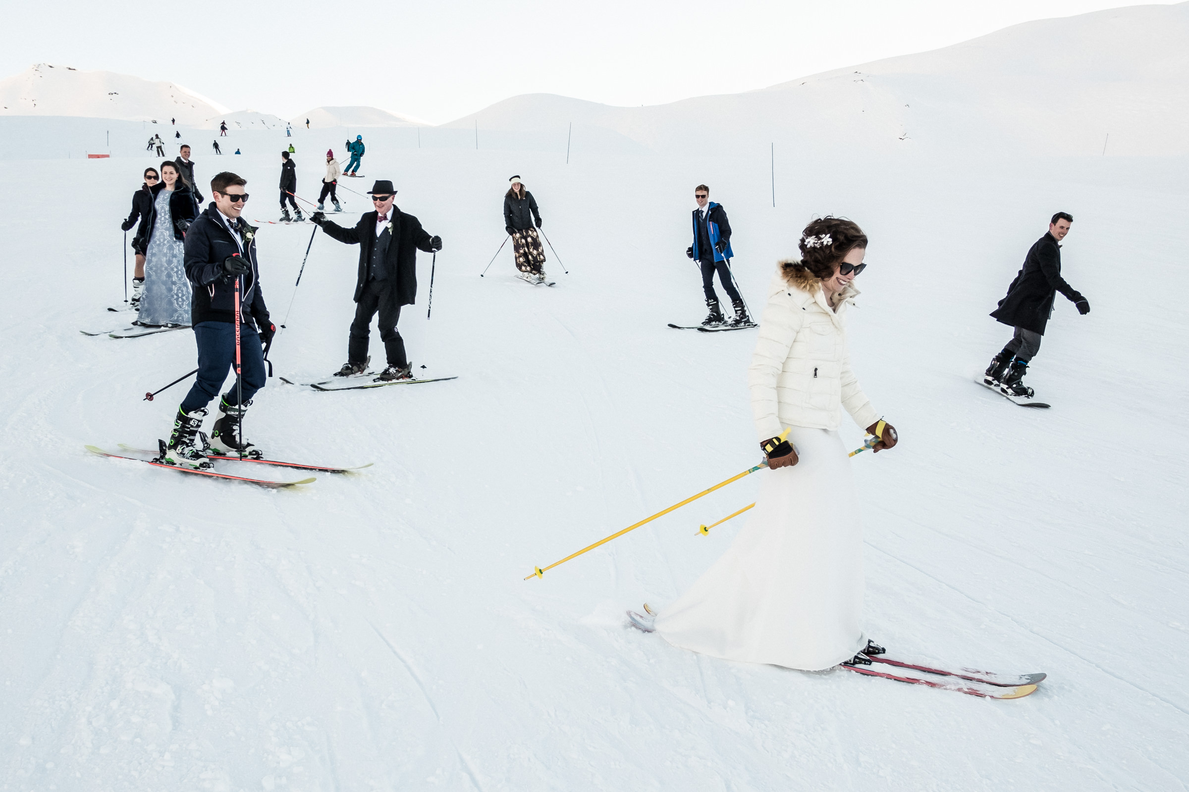 Just married couple skiing in the French Alps - photo by William Lambelet