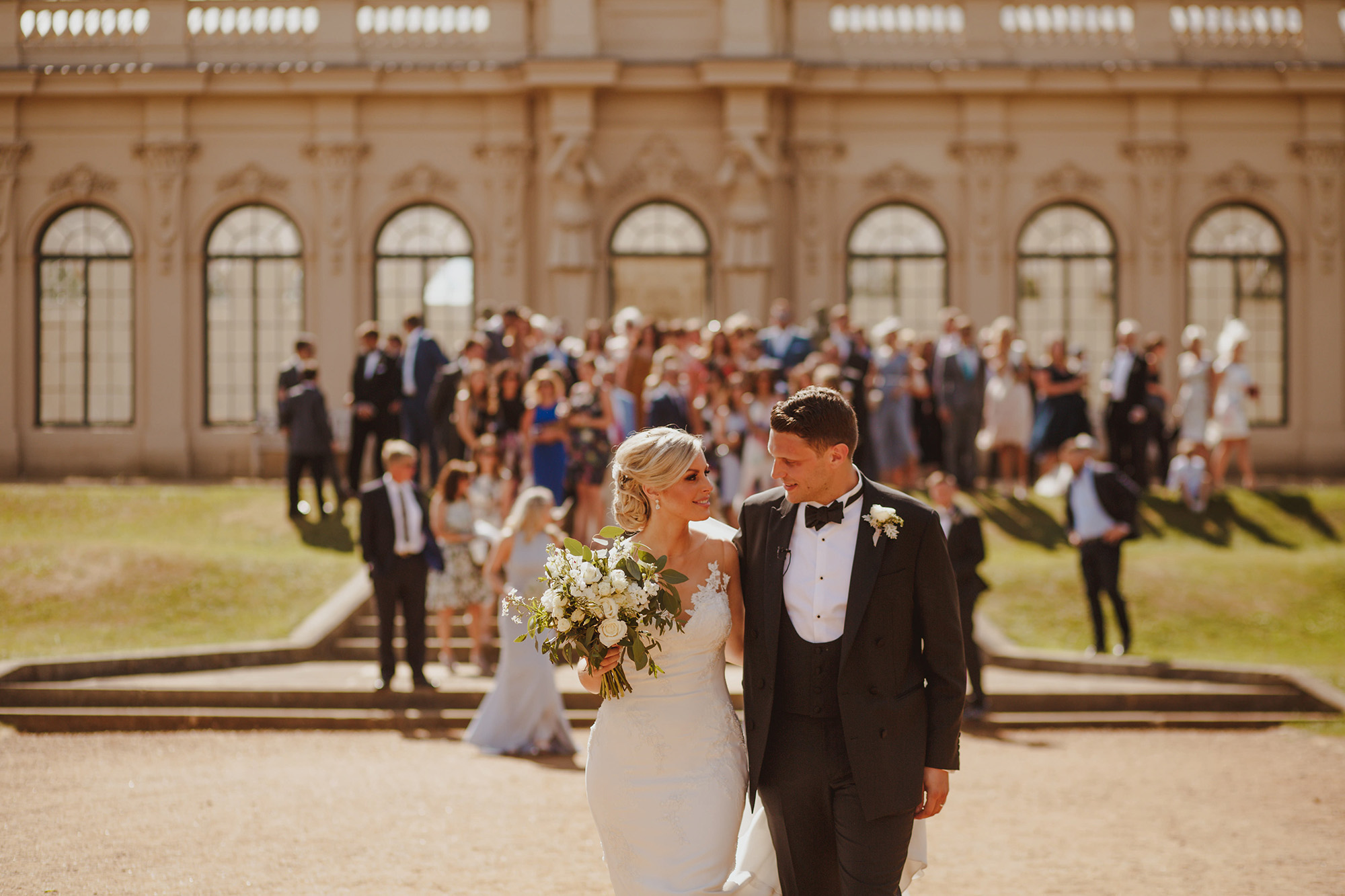 Wrest Park front entrance, Bedfordshire England, photo of couple leaving ceremony by Motiejus