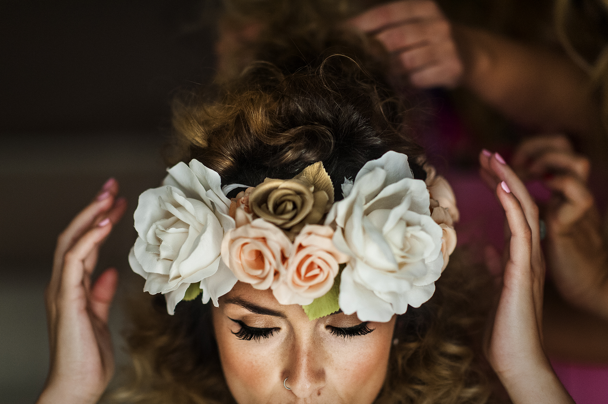 Pink and white floral crown of roses with golden rose accent - photographed by Victor Lax - Spain