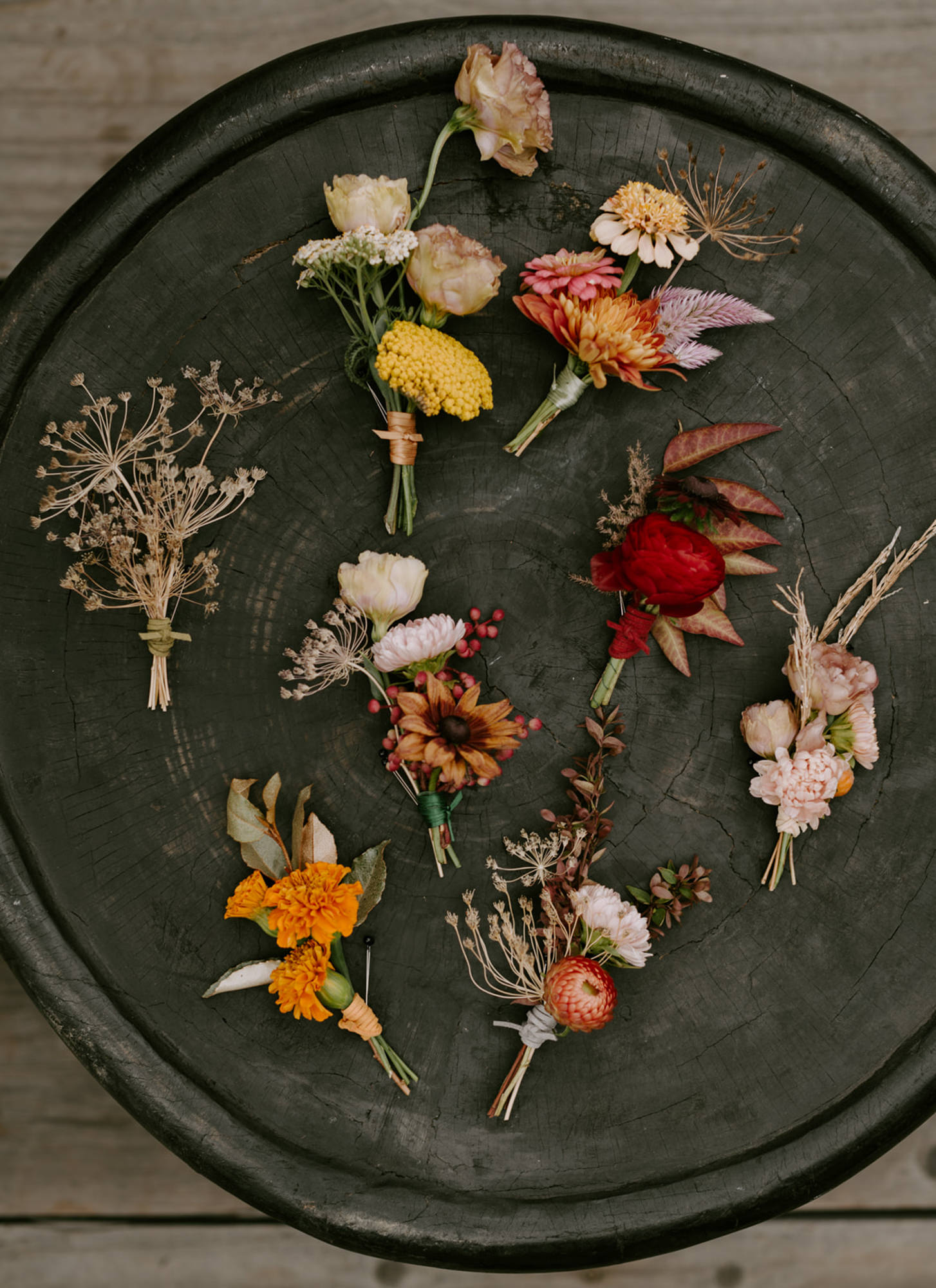 Late summer and fall color boutonnieres - photo by Kristen Marie Parker - Seattle photographer