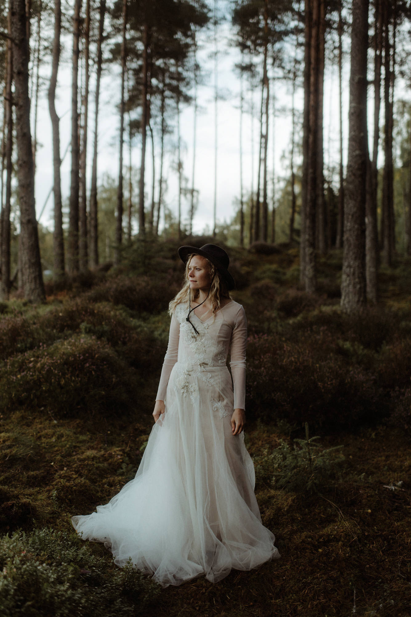 Boho bride in long sleeve chiffon gown with felt hat - The Kitcheners - Scotland