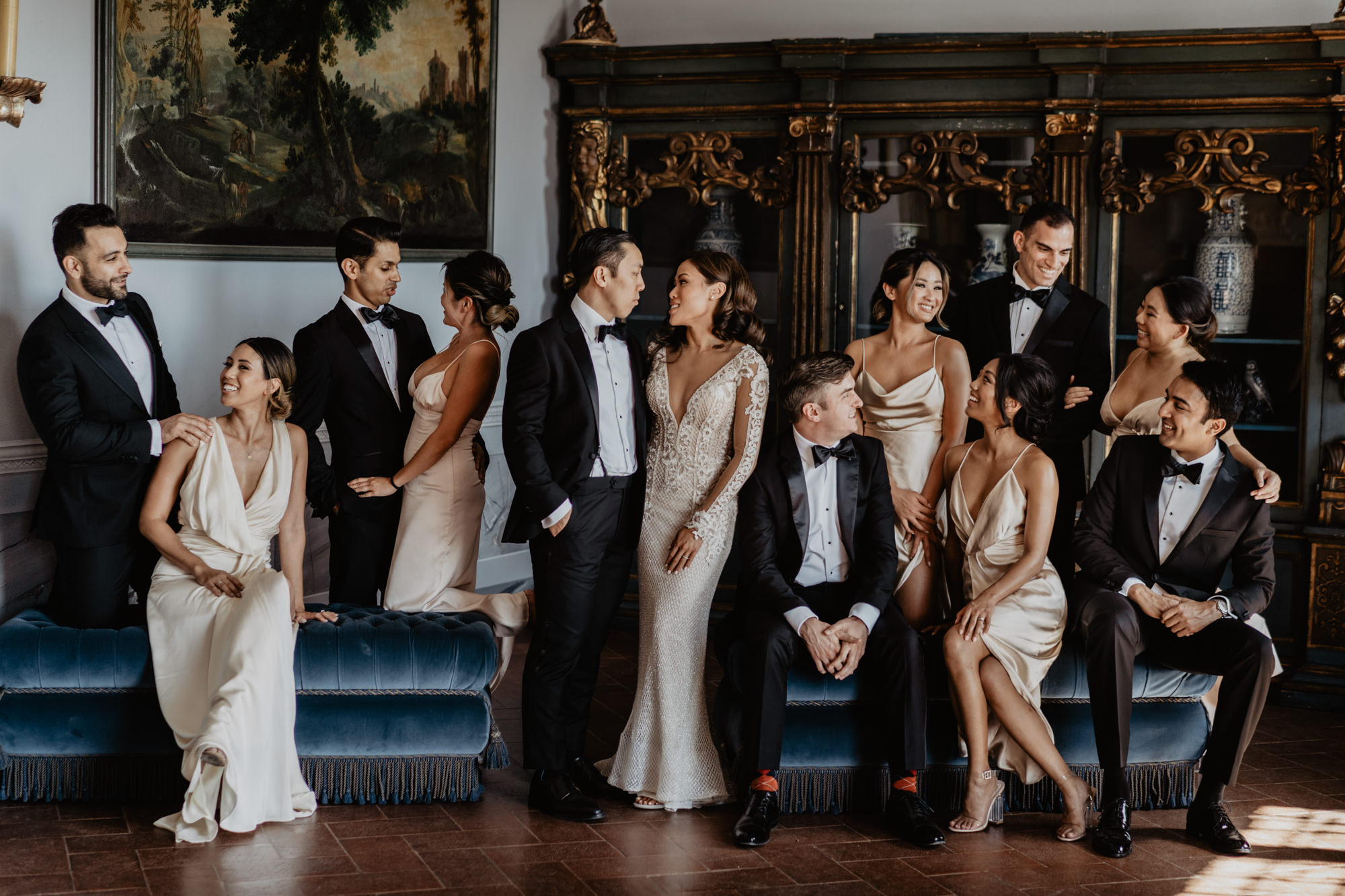 Bridal party in ivory satin wedding gowns - photographed by David Bastianoni - Italy