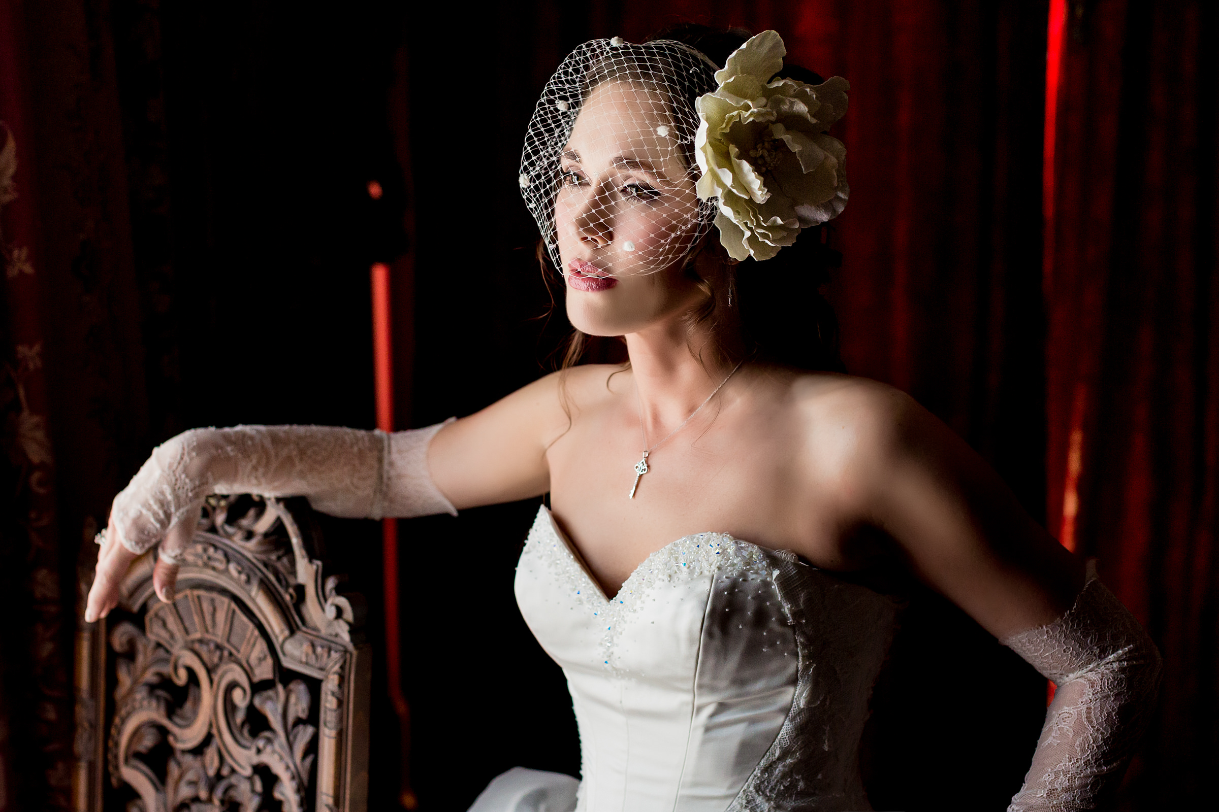 Bride in birdcage veil and lace gloves - photo by Procopio Photography - D.C.
