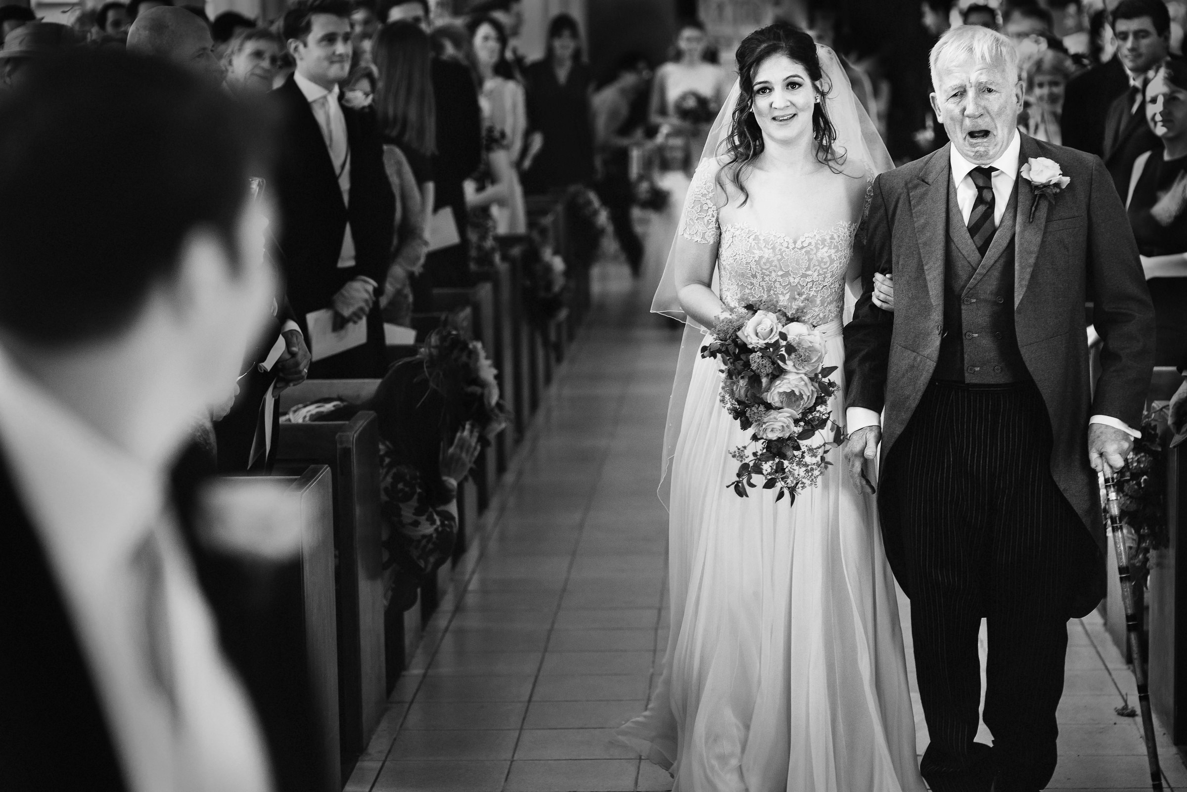 Granfather breaks down in tears as he delivers bride to the altar - photo by Andy Gaines - London