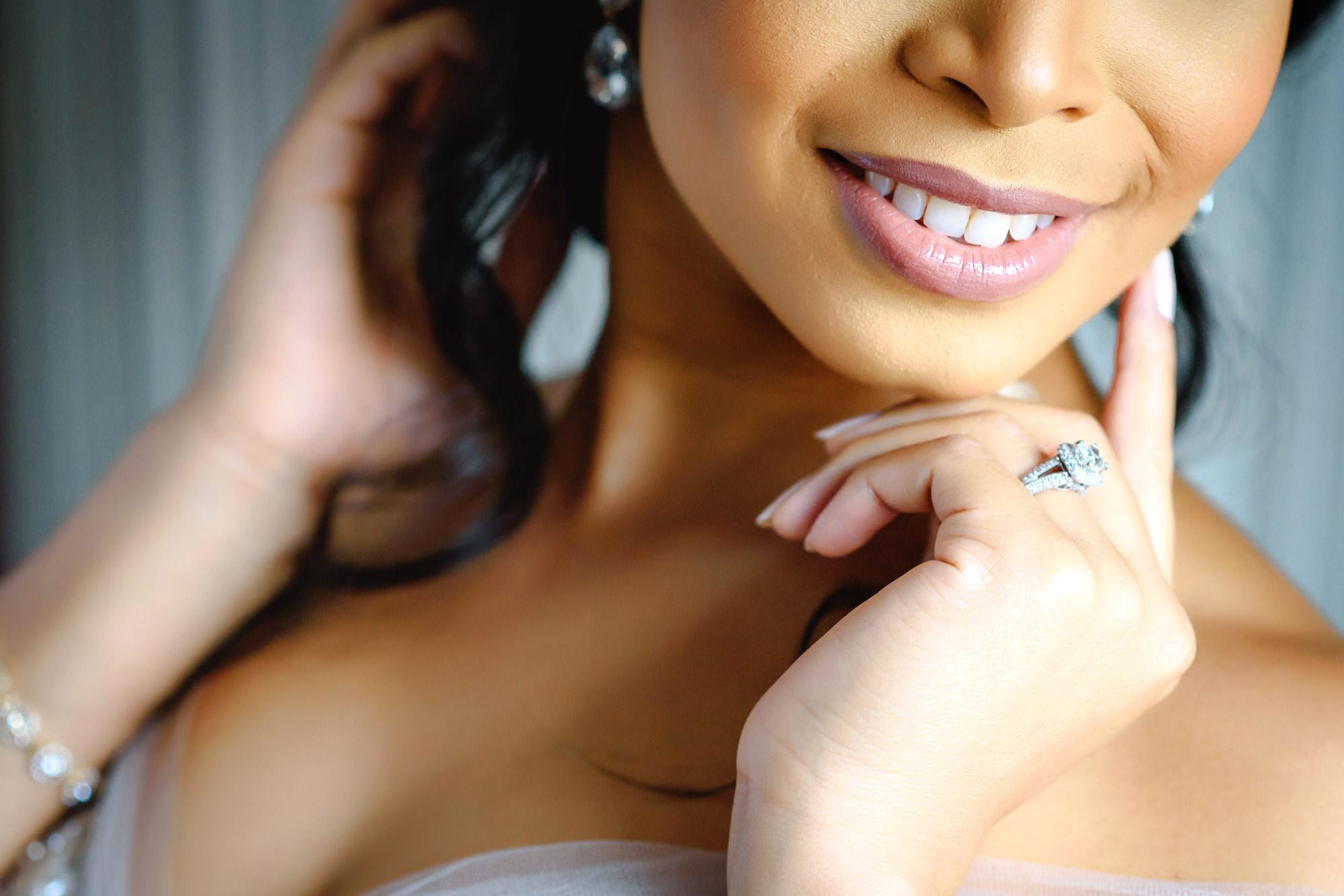 Bride with soft blush lipstick and square diamond ring - photo by Jide Alakija - New York
