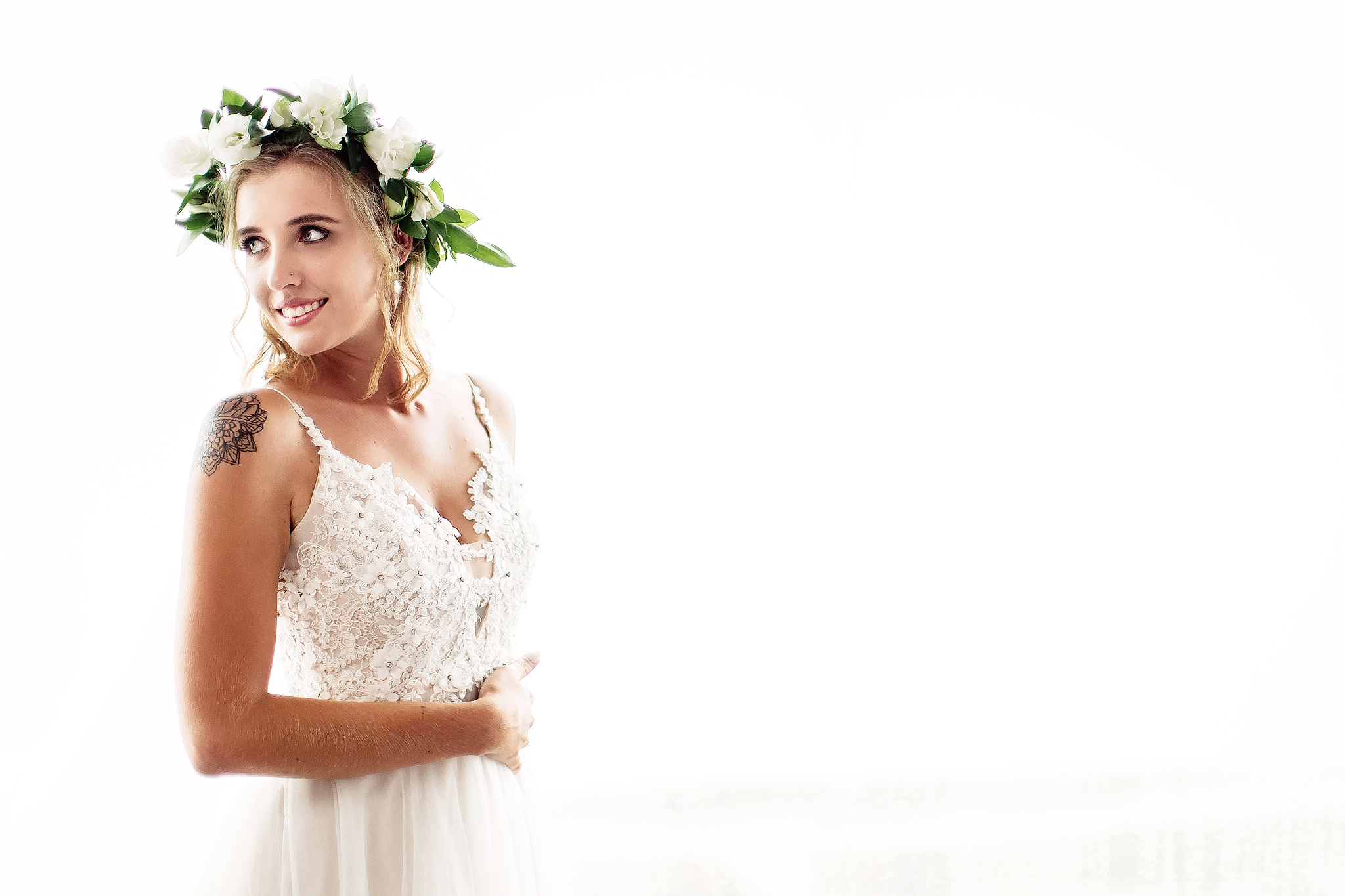 bride-with-floral-crown-and-mandala-tattoo-ruan-redelinghuys-photography-south-africa