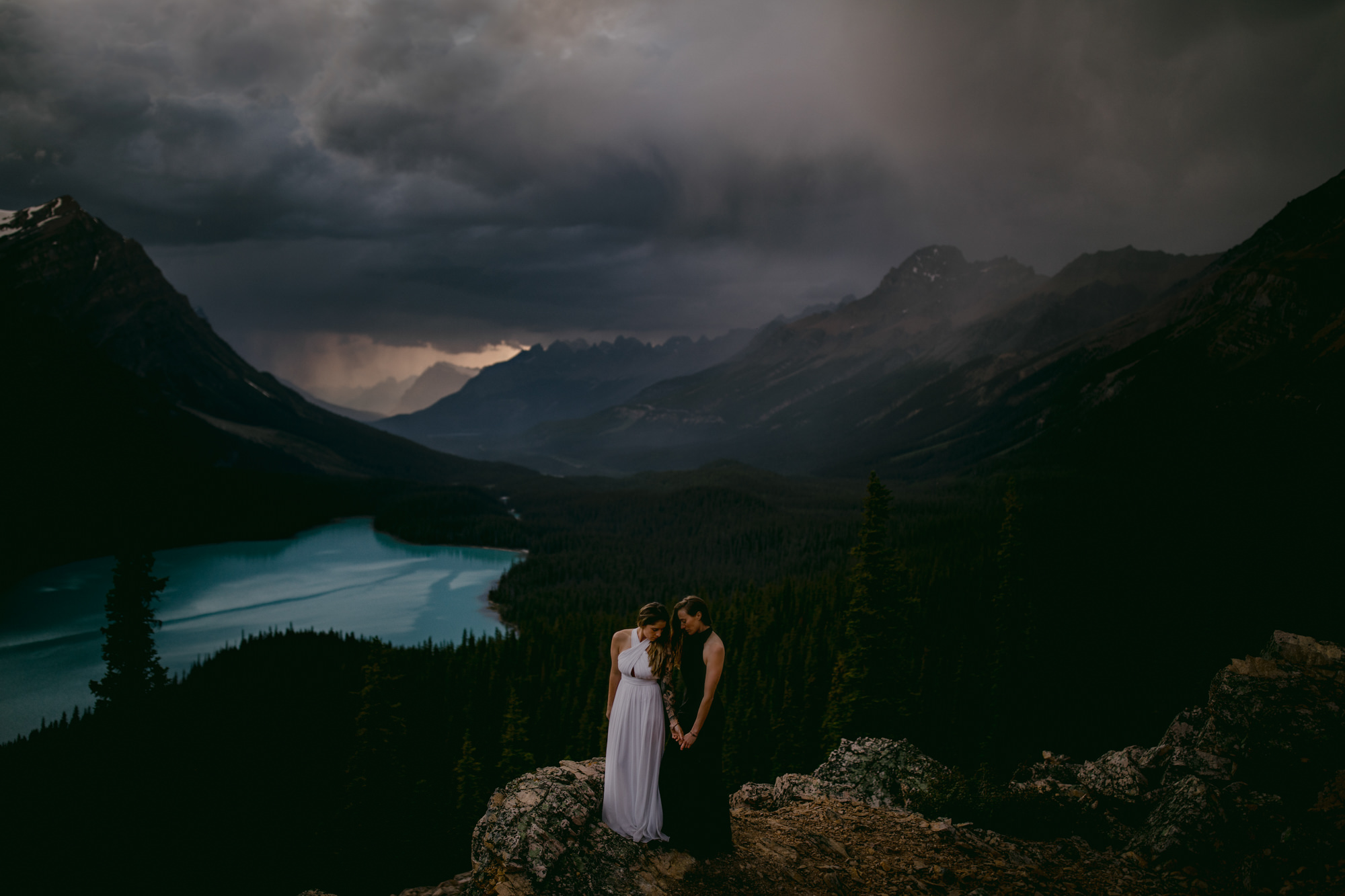 Brides at Lake Louise viewpoint in Banff National Park - photo by Gabe McClintock