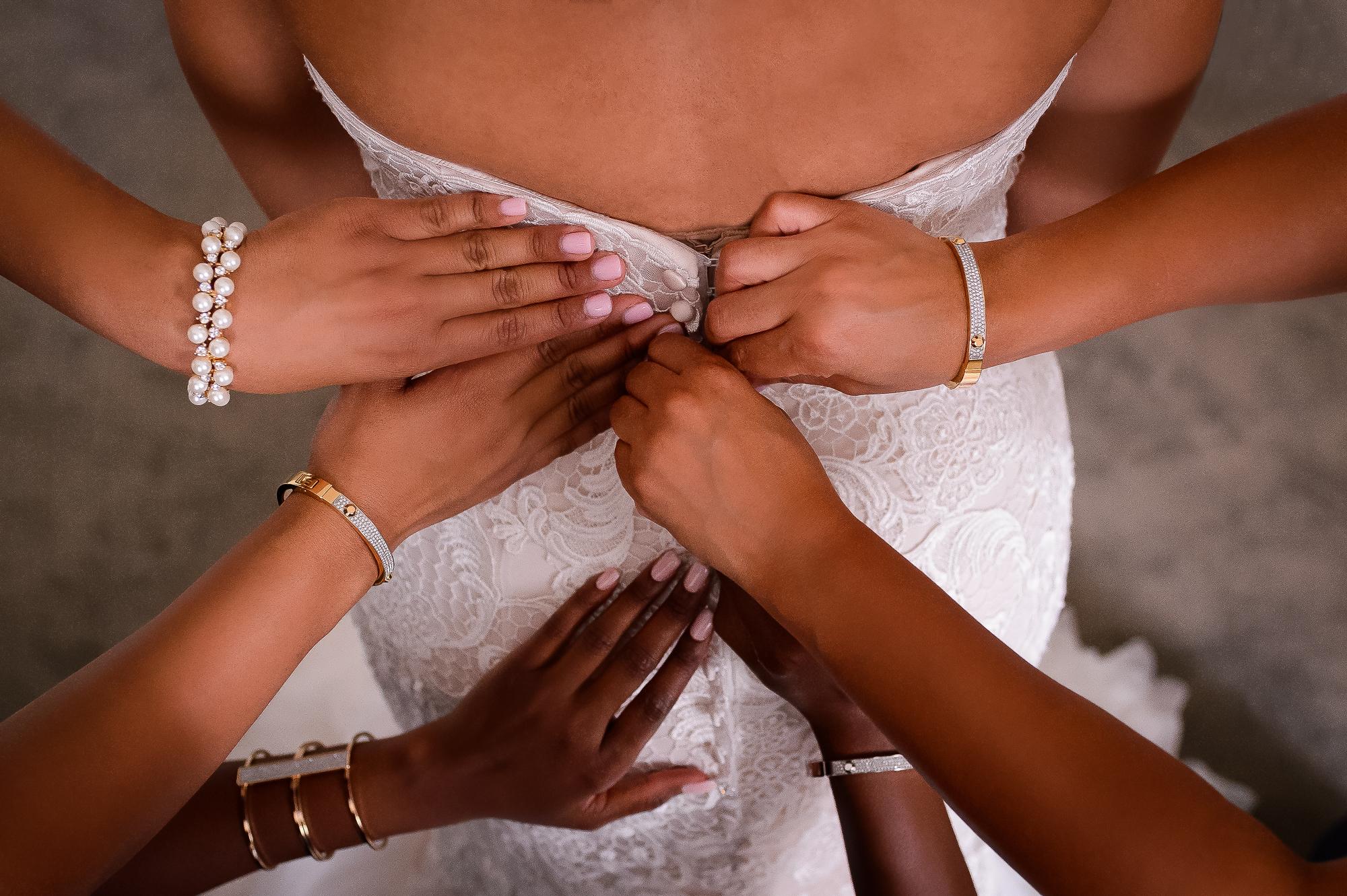 Bridesmaids button up bride's dress - photo by Christopher Jason - Washington D.C.