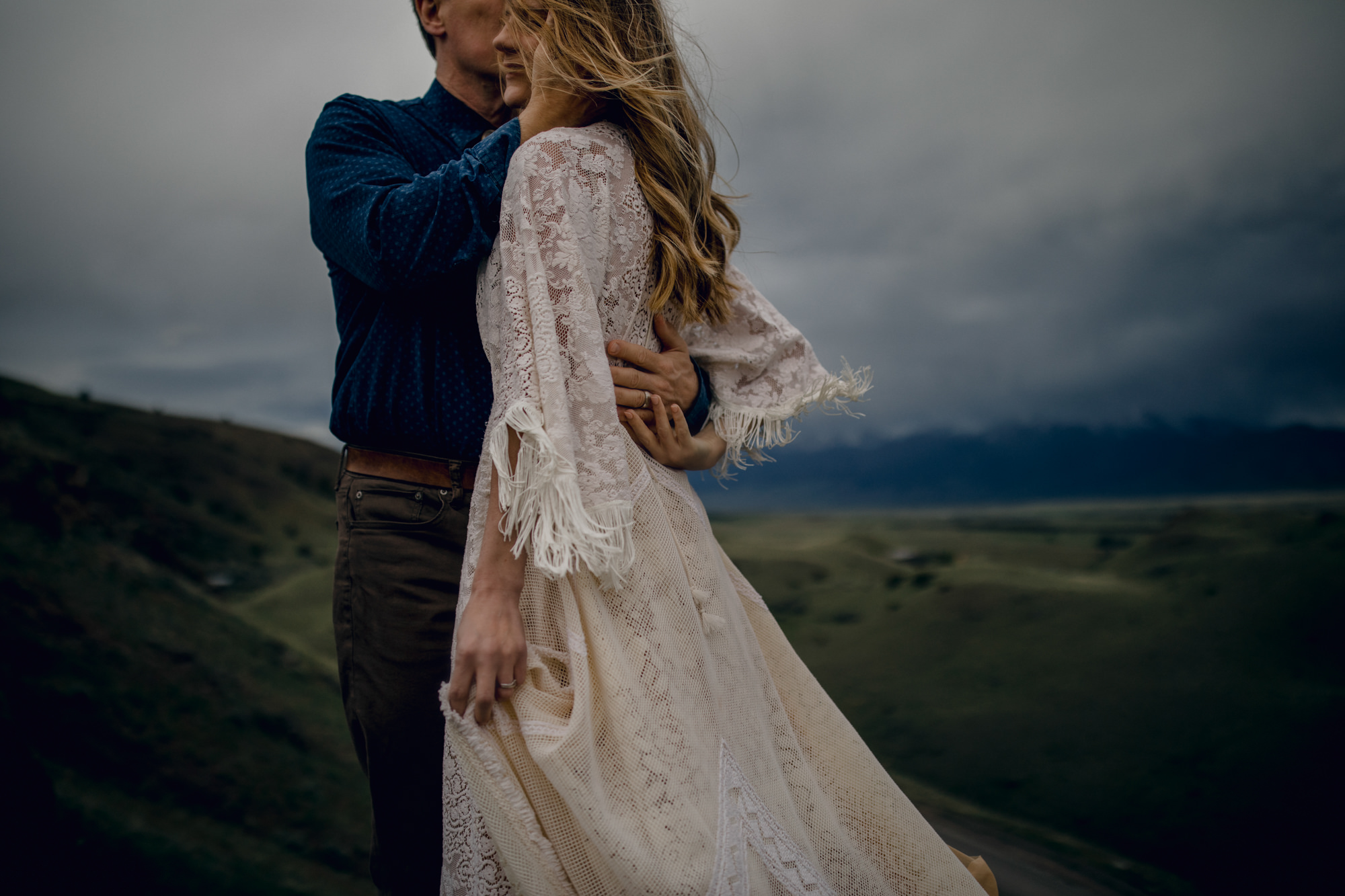 Bride wearing Bohemian Style lace ivory dress - photo by Gabe McClintock - Calgary