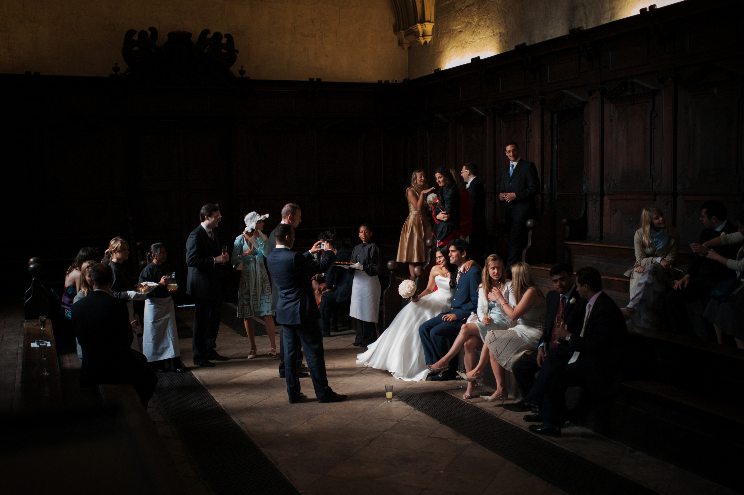Documentary wedding group shot of guests and bridal party - photo by Jeff Ascough, London