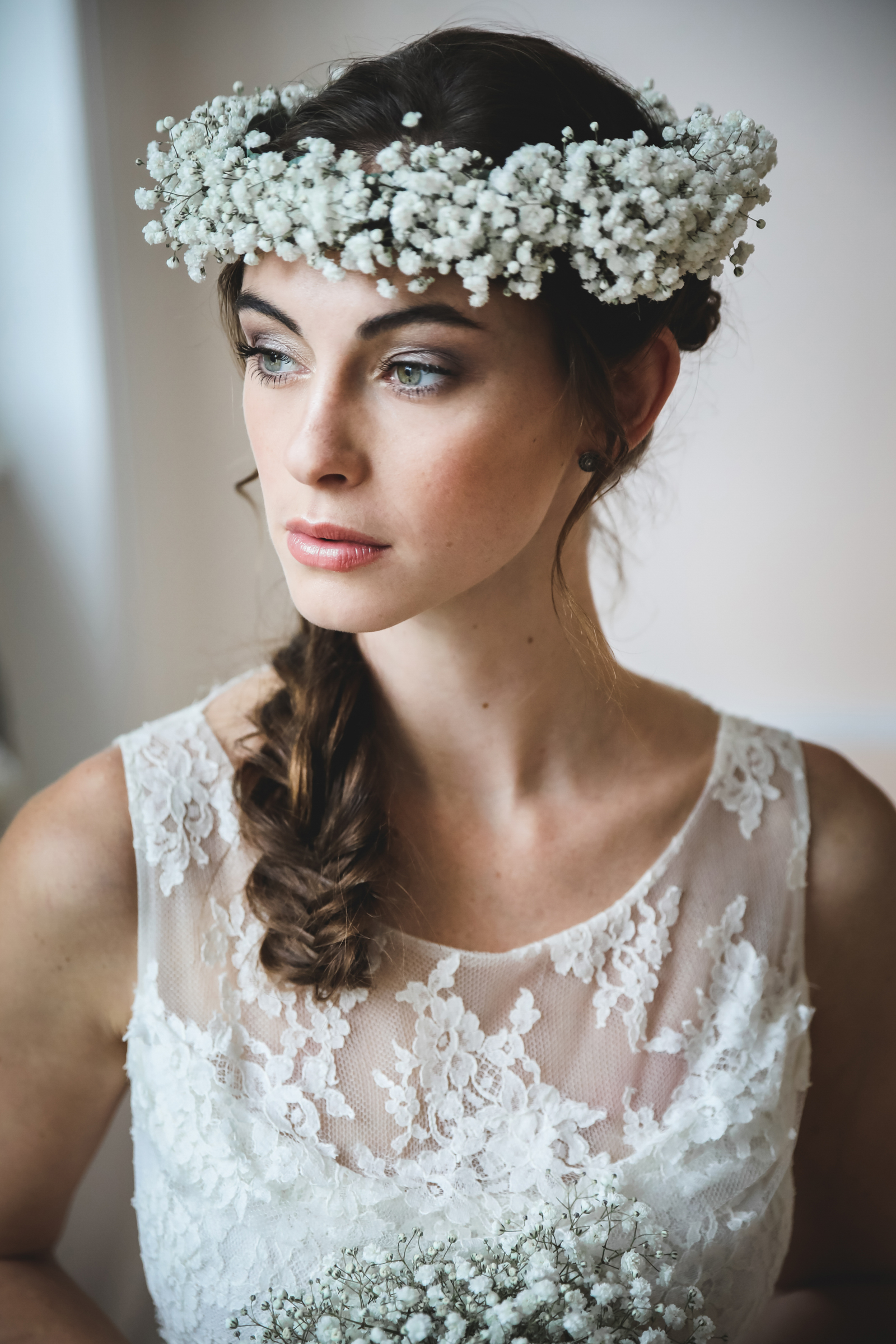 Simple floral crown of baby's breath blossoms photographed by Julien Laurent Georges - France