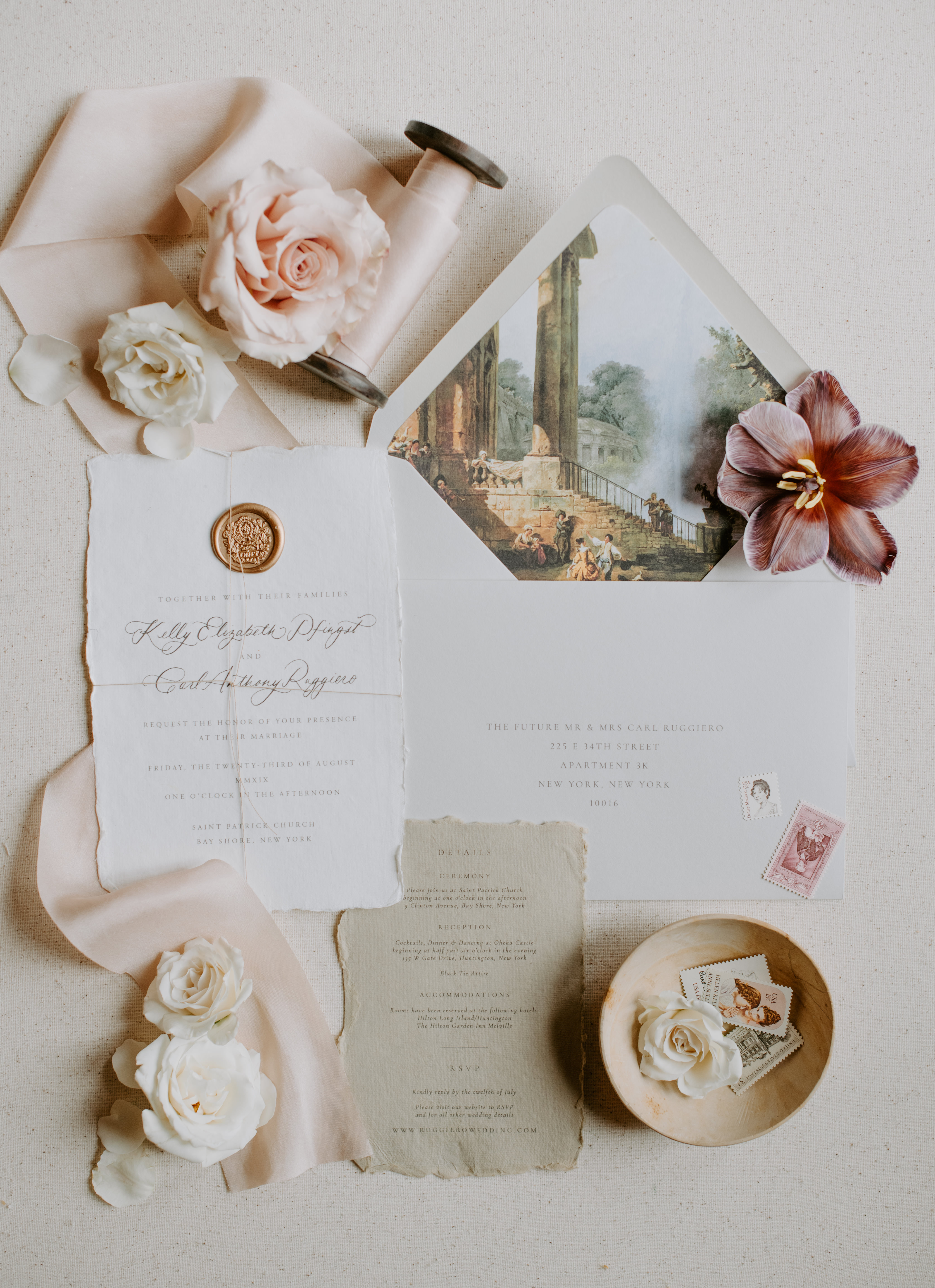 Elegant wedding invitation flatlay with ruffled edges and painted envelope - photo by Kristen Marie Parker