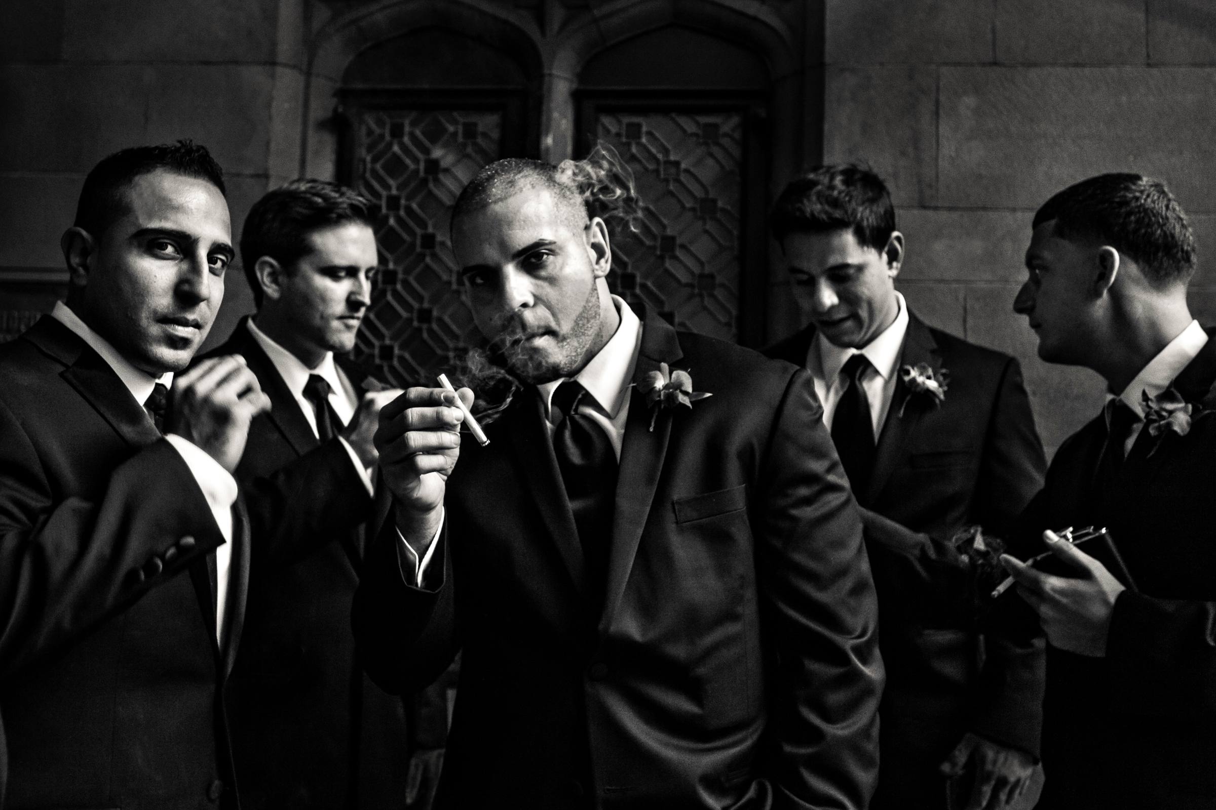 film-noir-portrait-of-groom-and-groomsmen-smoking-jagstudios