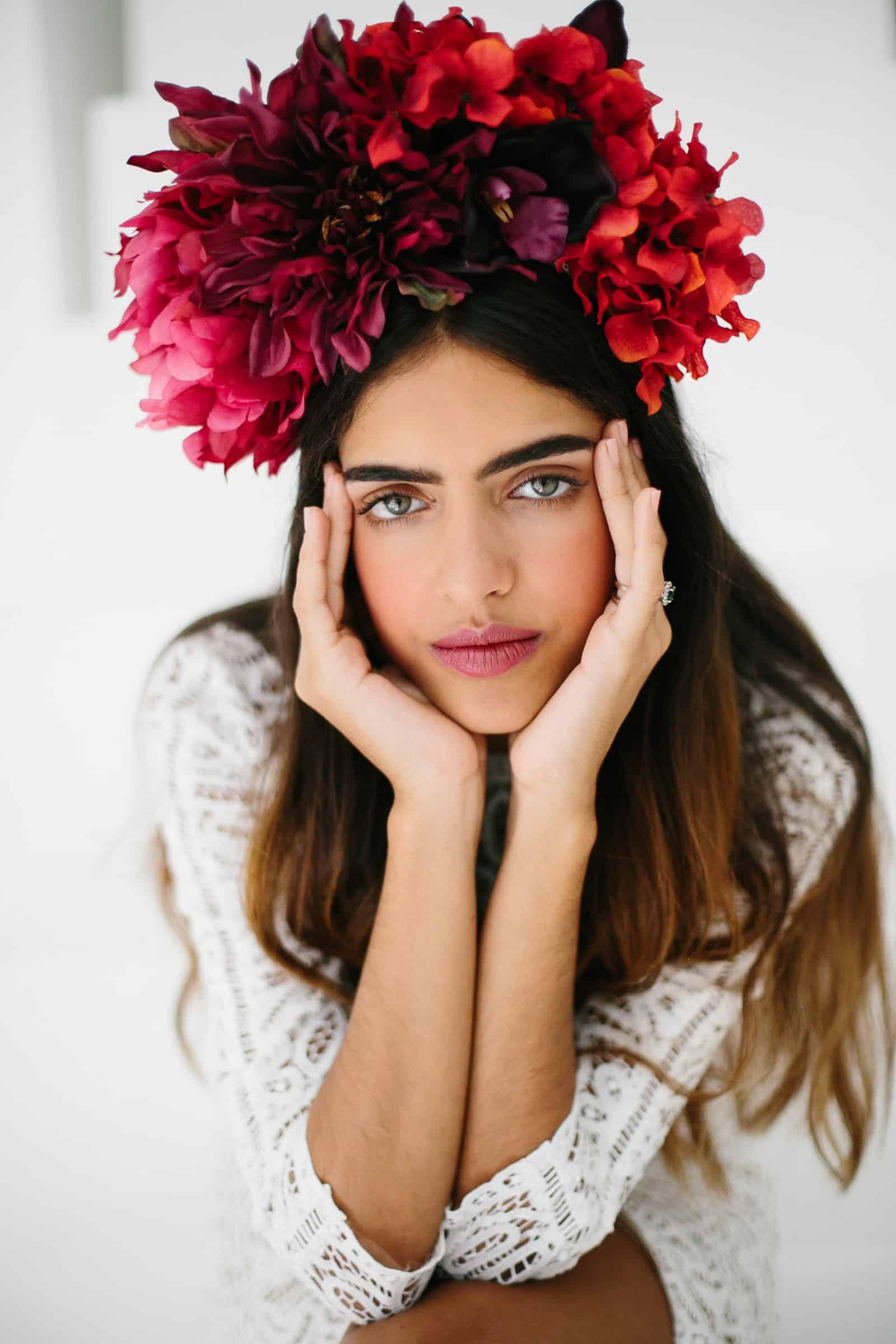 Freida Kahlo inspired floral crown photographed by Carolina Guzik - Florida