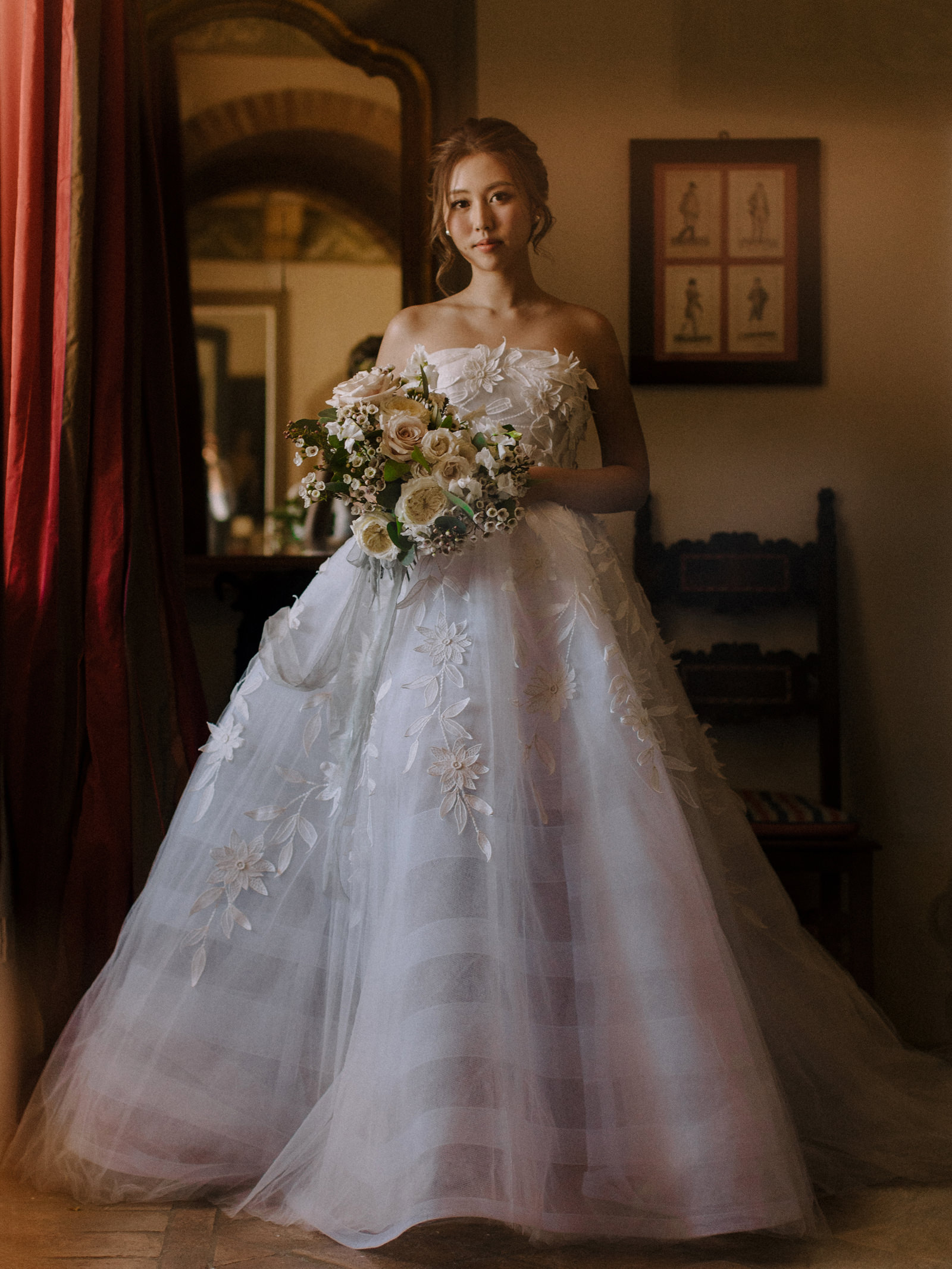 Beautiful portrait of Asian bride in full wedding gown by Nirav Patel of San Francisco