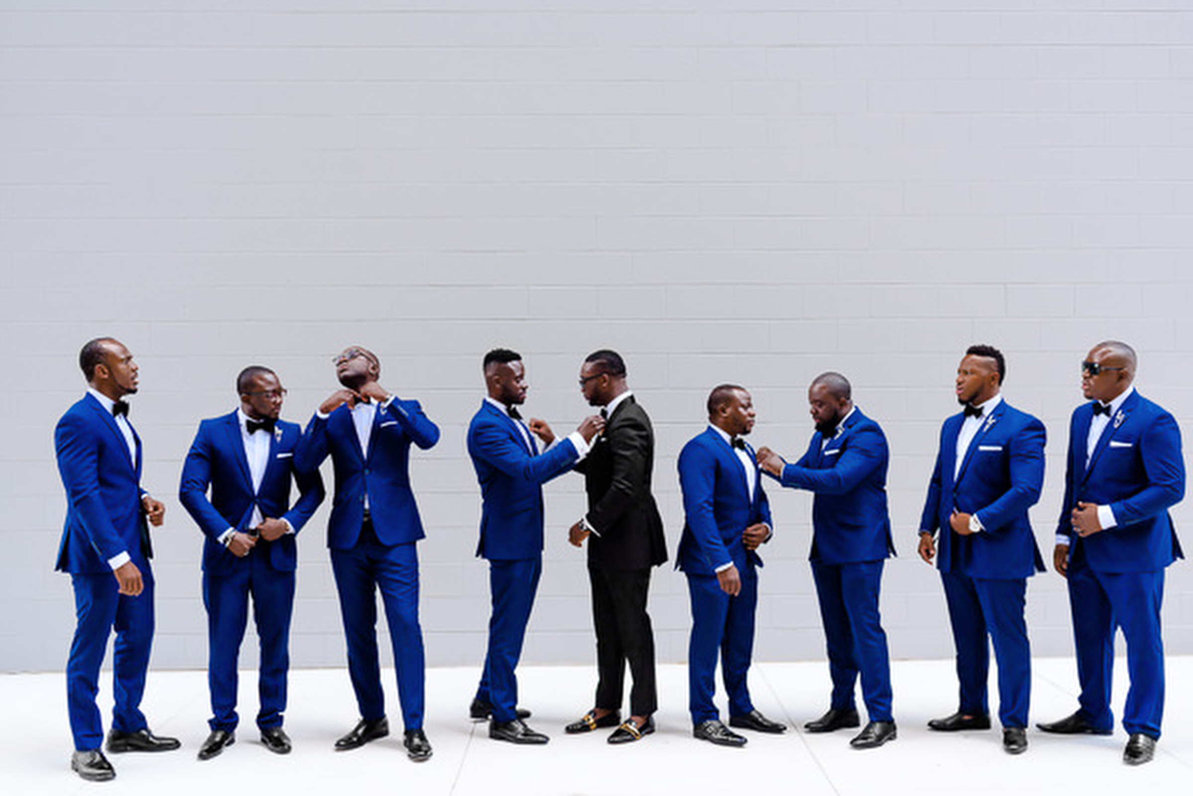 Groomsmen in bright blue suits photographed by Kirth Bobb - Washington D.C.