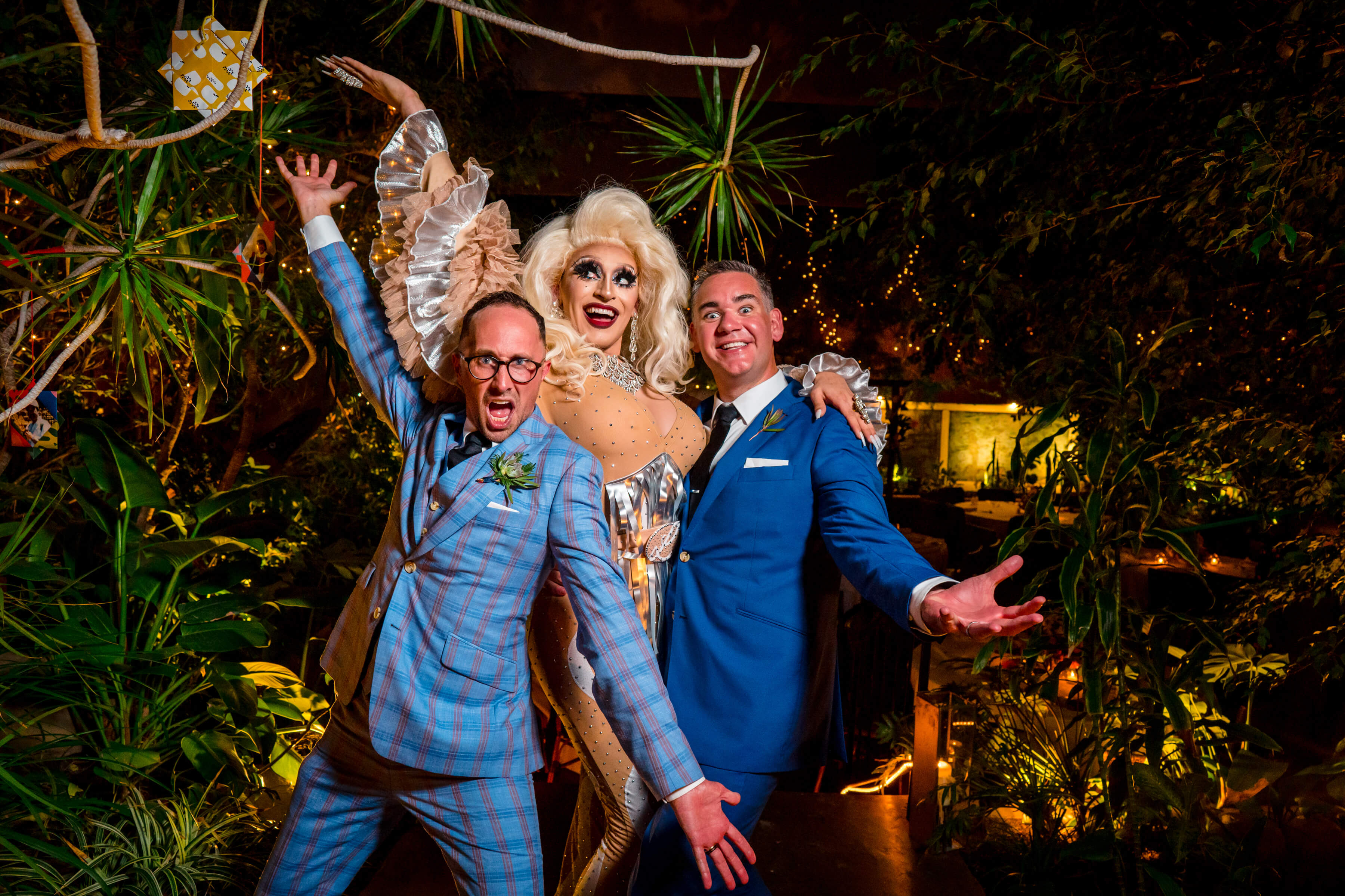 grooms-posing-with-drag-queen-bee-two-sweet