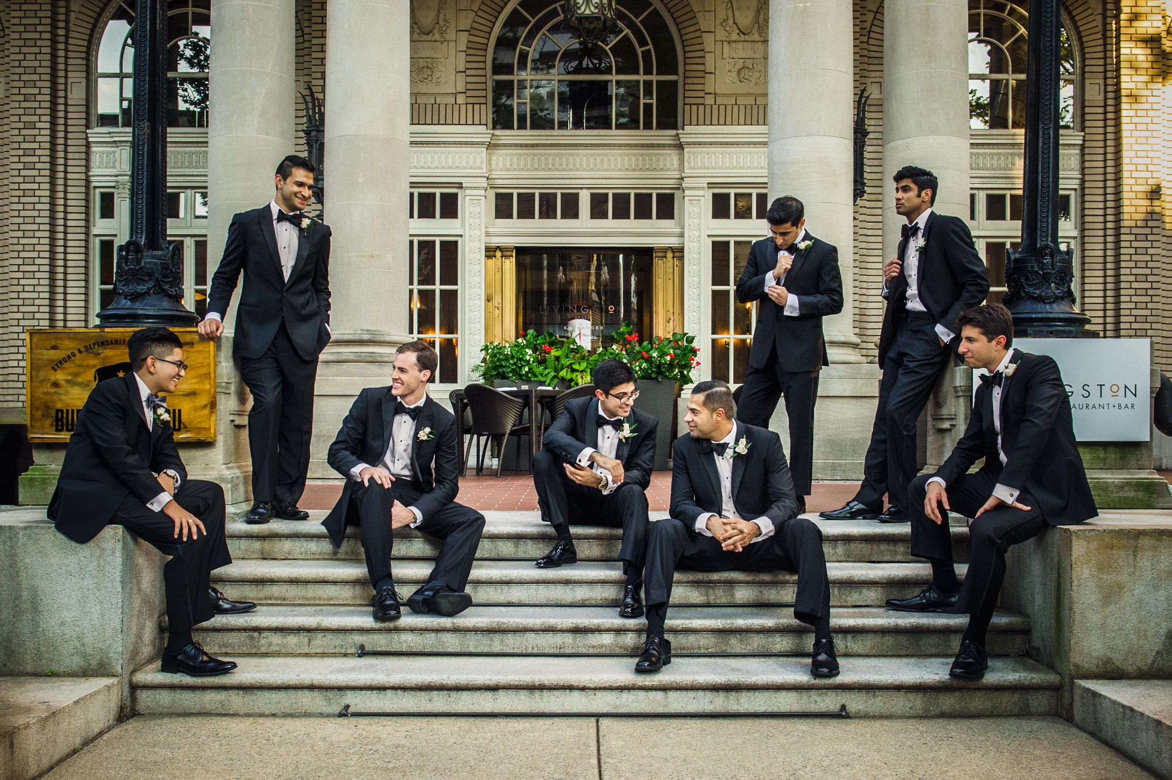 groomsmen-posed-on-steps-of-historic-building-viridian-images-photography
