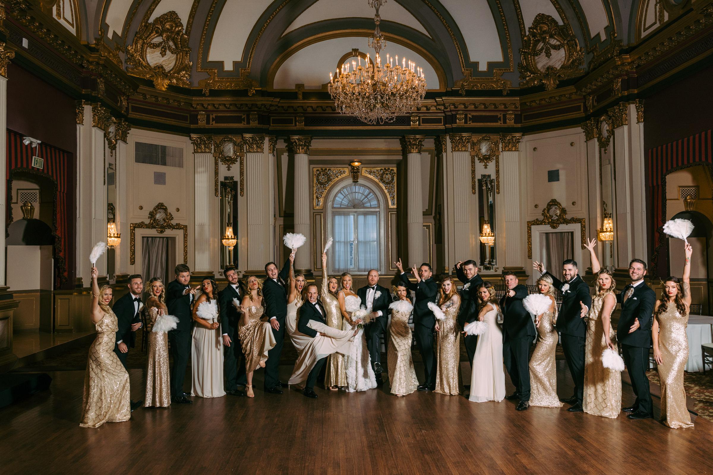 Elegant wedding party group shot - photographed by Nat Wongsaroj - Washington D.C.