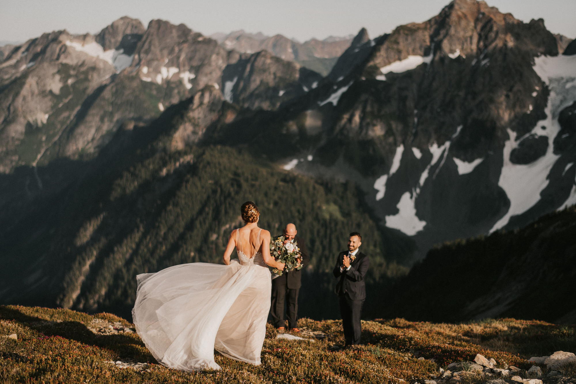 North Cascades moutaintop wedding ceremony - photo by Nick plus Danee
