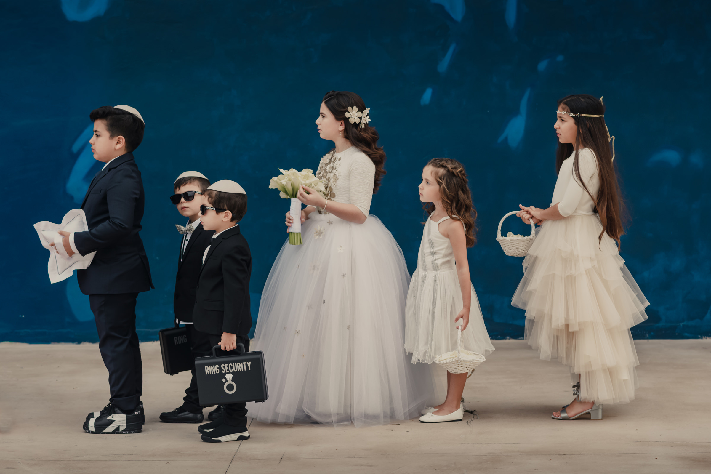 Bridal party boys wearing security suits and yarmulkes - photo by El Marco Rojo