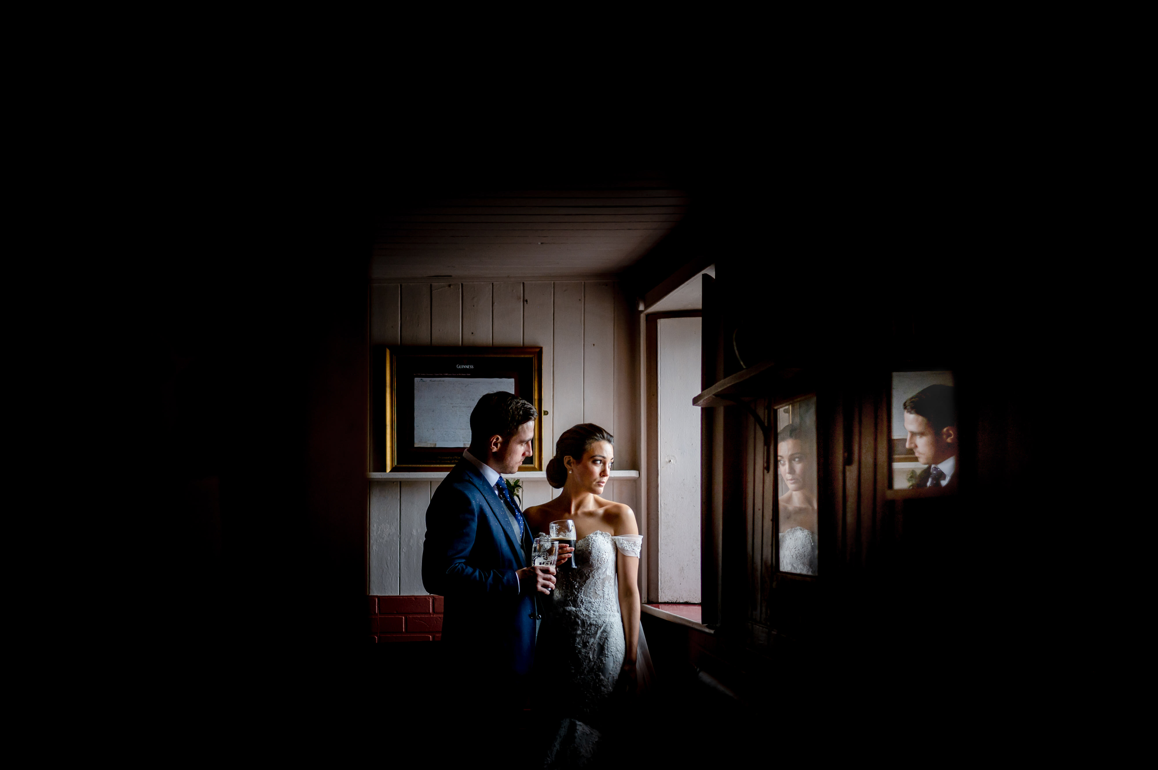 Bride and groom reflected in two mirrors - John Gillooley - Ireland