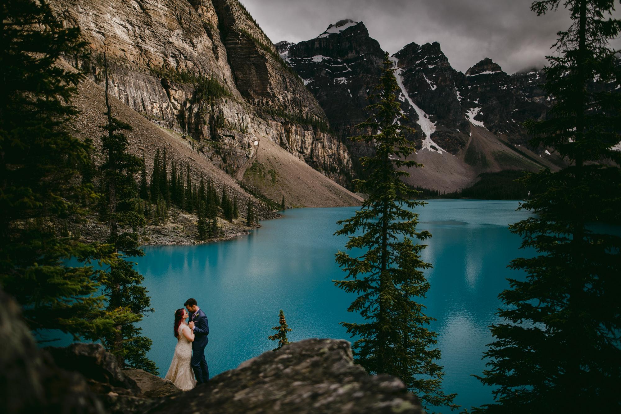 Couple portrait at Lake Moraine by Gabe McClintock